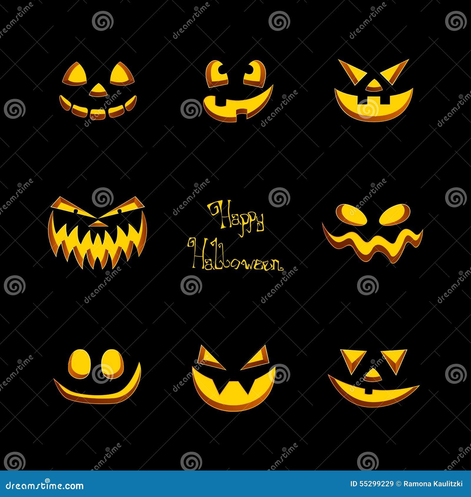 furchtsame halloween k rbis gesichter stock abbildung bild 55299229. Black Bedroom Furniture Sets. Home Design Ideas