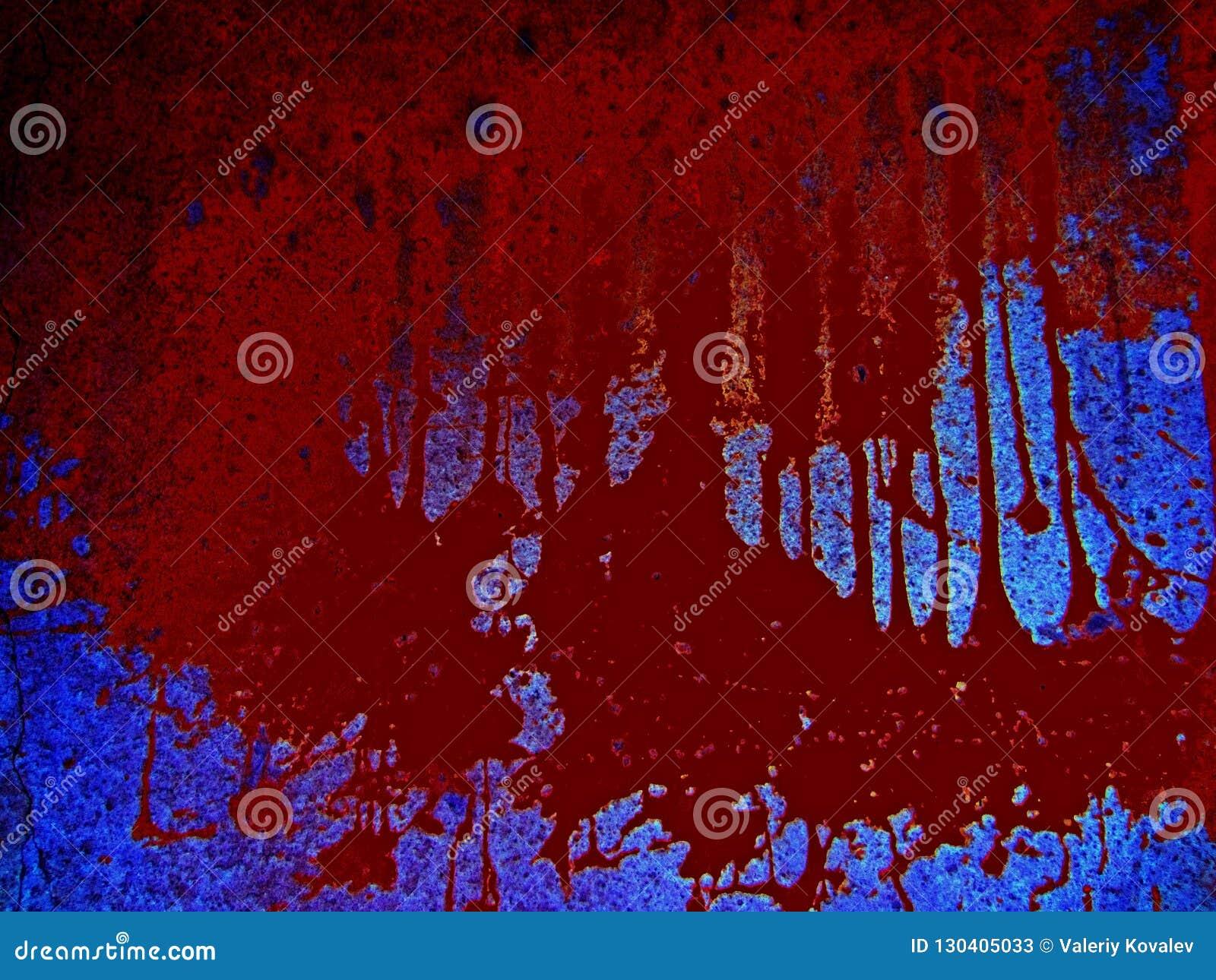 Furchtsamer blutiger Hintergrund Gefahr, eine Pfütze des Bluts auf einem blauen Hintergrund, braune Stellen des Blutvergießens