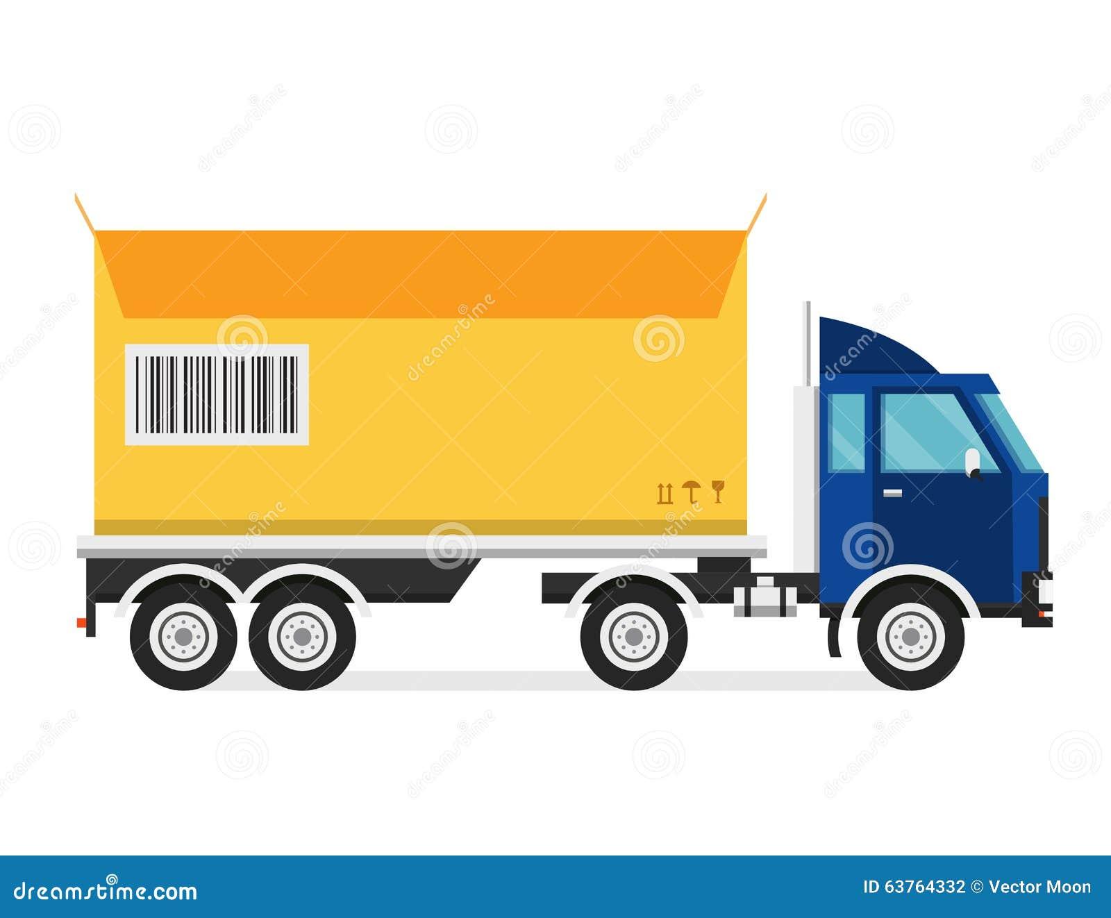 Furgone del camion di trasporto di vettore di consegna e contenitore di regalo fotografia stock