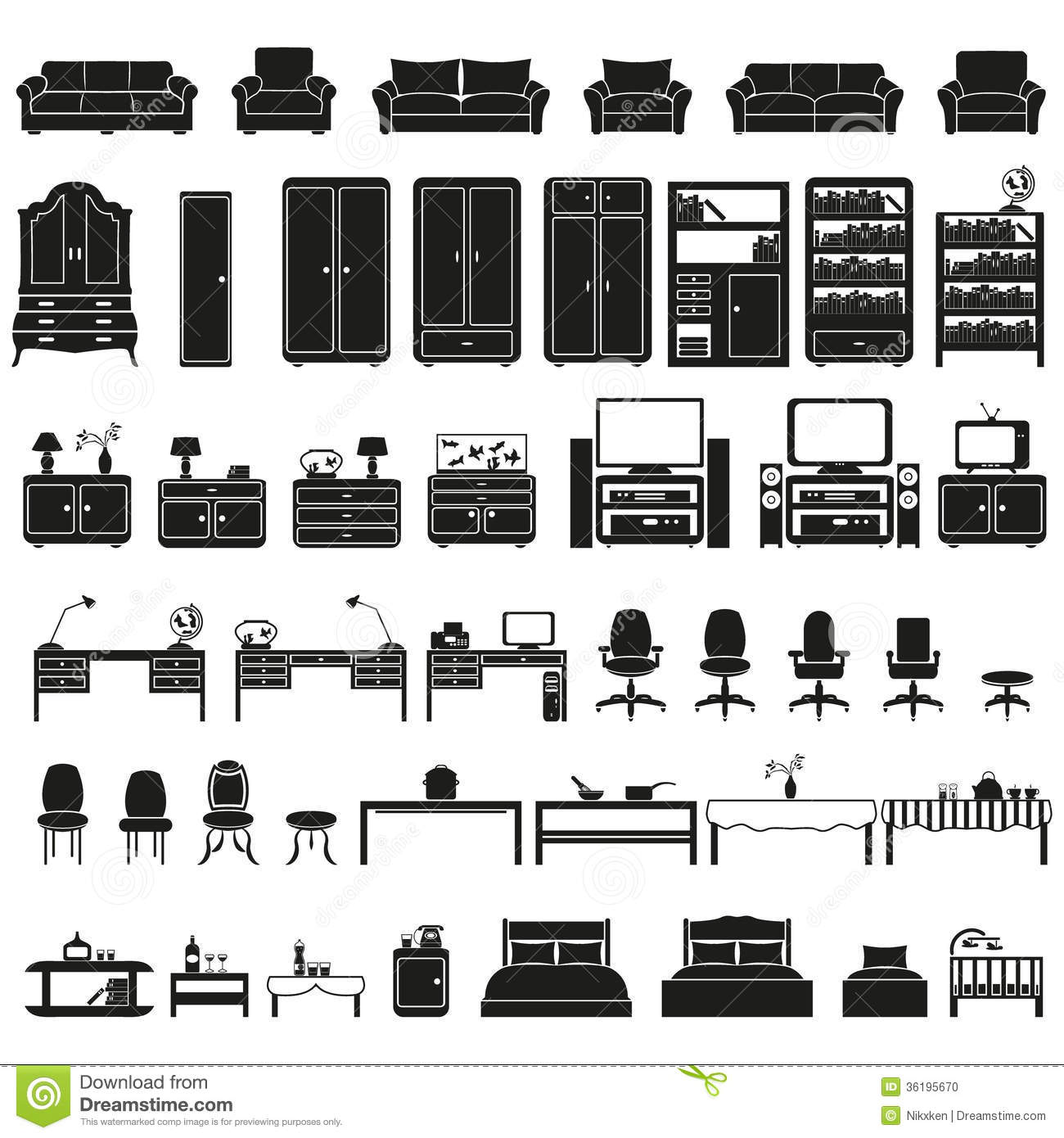 Furinture Furniture Icons Set Stock Vector