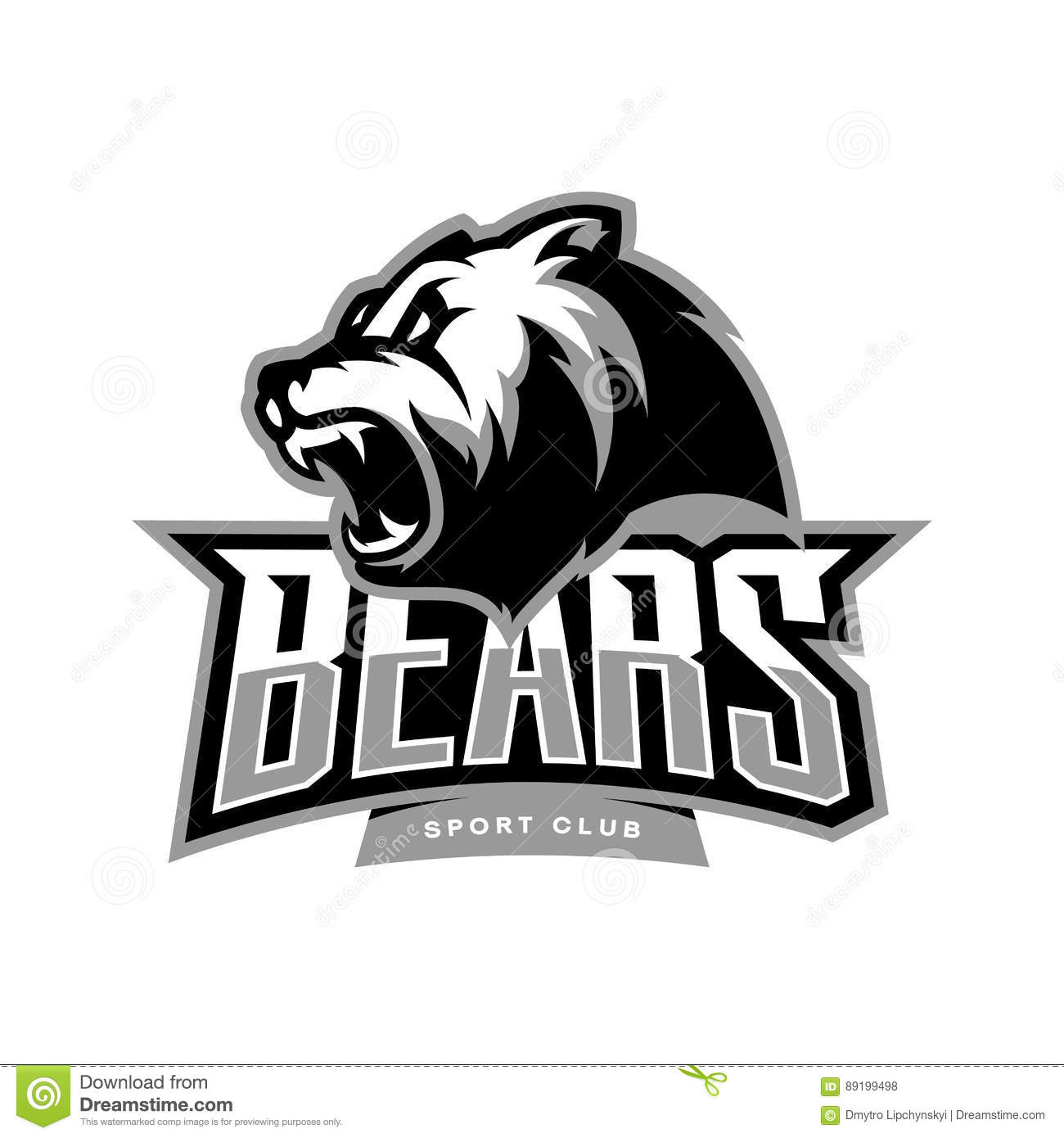 Modern Professional It Company Logo Design For Concept: Furious Bear Sport Vector Logo Concept Isolated On White