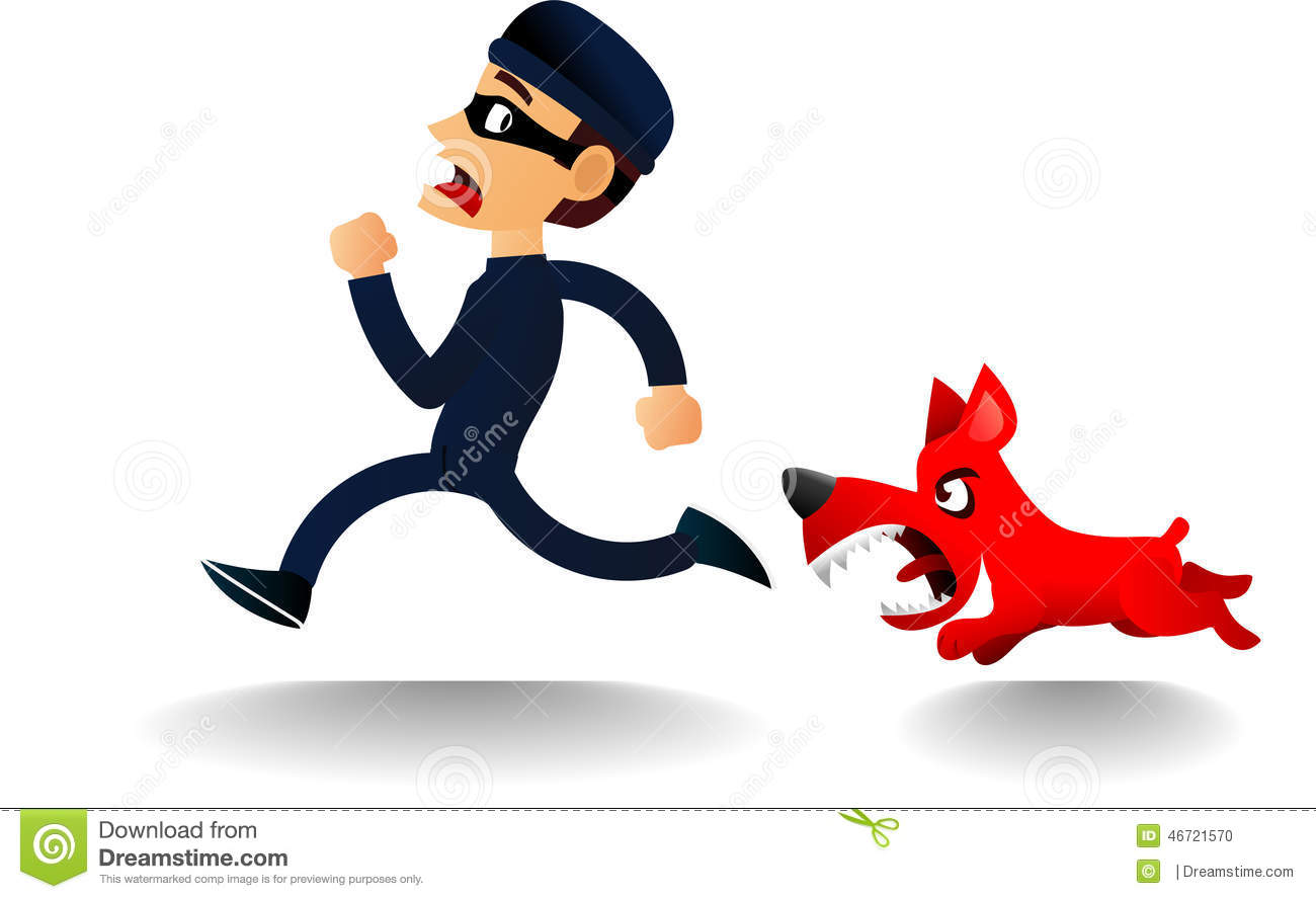 Dog chasing thief, with burglar dressed in black with also a black ...