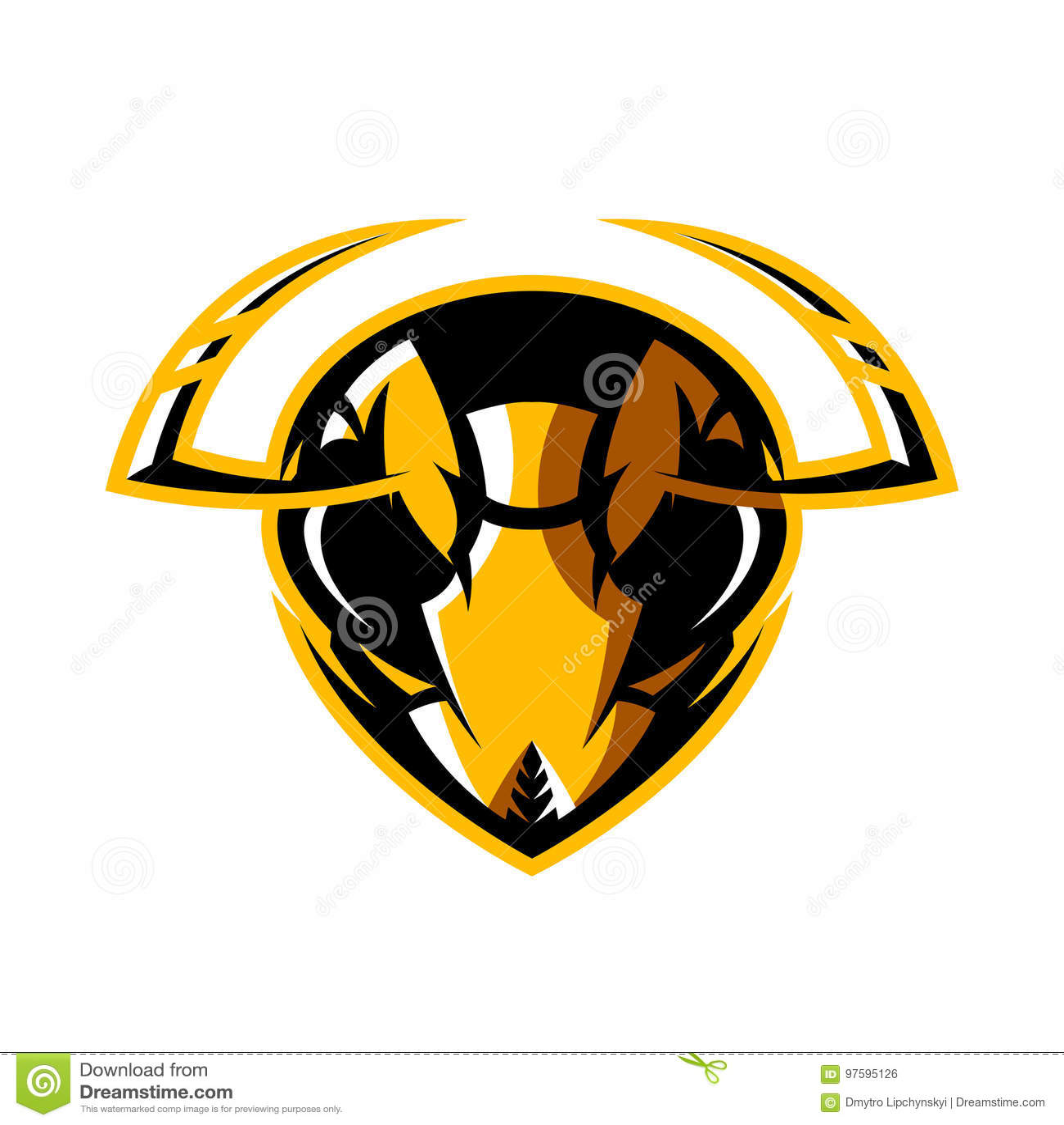 Furious Hornet Head Athletic Club Vector Logo Concept Isolated On