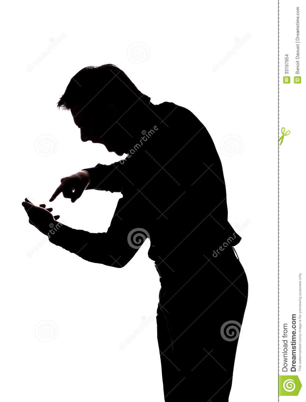 Furious man yelling at his cellphone in silhouette isolated over white ...