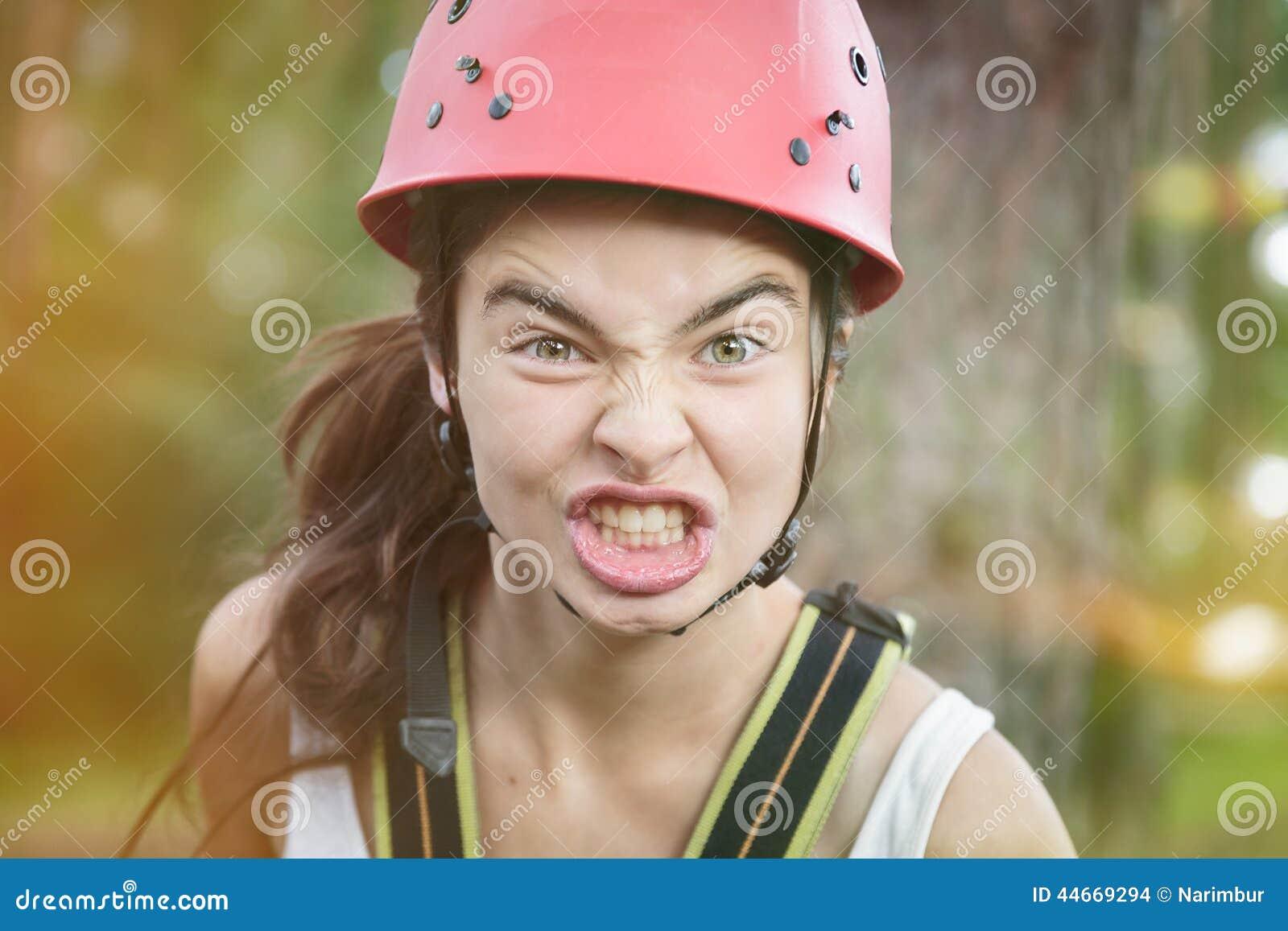 Furious teenager girl