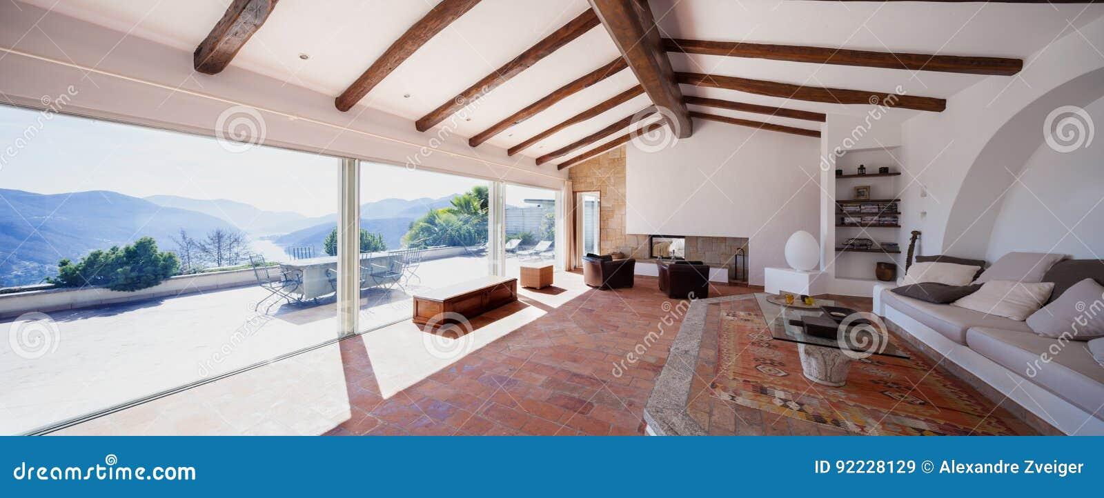 Furnish Living Room With Beautiful Timber Beams Stock Image - Image ...