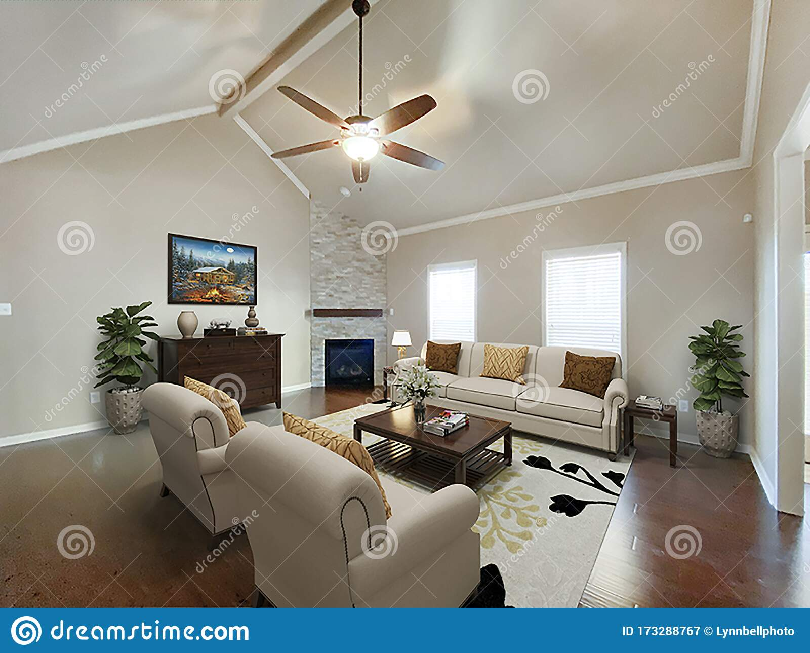 Furnished Living Room With Vaulted Ceiling Stock Image Image Of Fireplace Idea 173288767