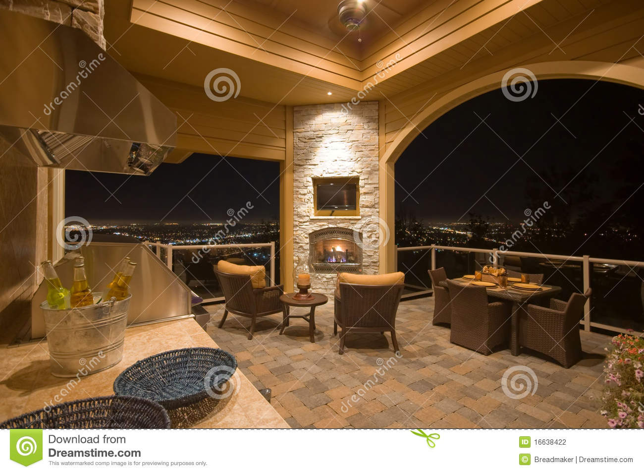 Furnished Patio With Fireplace Stock Photography