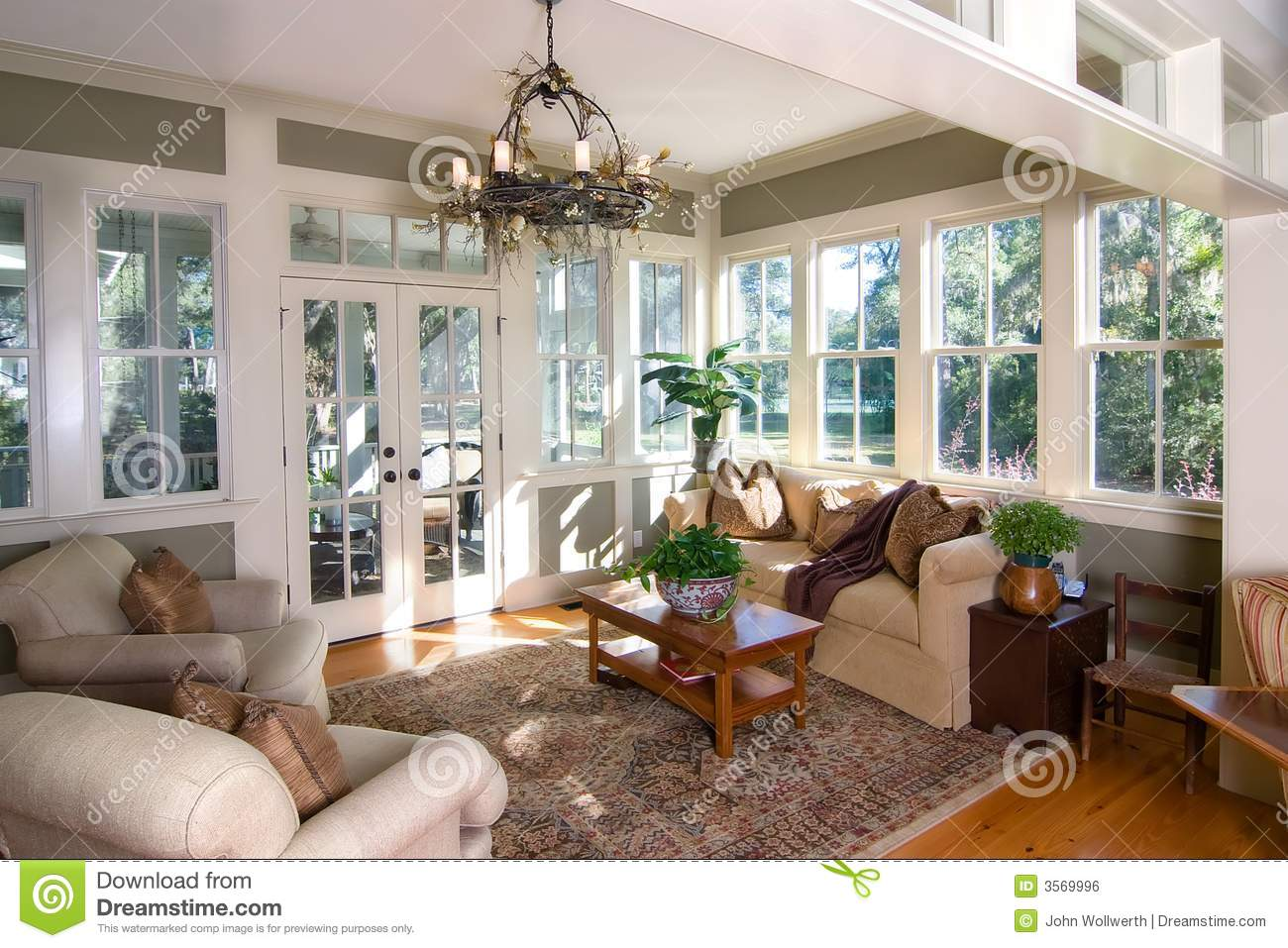 Furnished Sunroom Stock Photo Image Of Room Sunroom