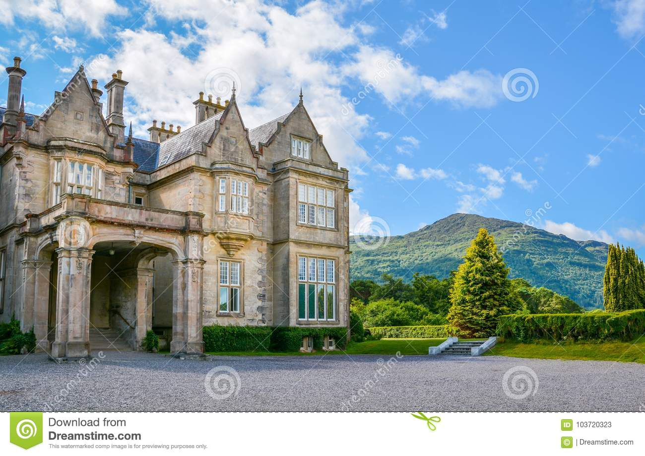 Side view of Muckross House on a sunny morning, County Kerry, Ireland