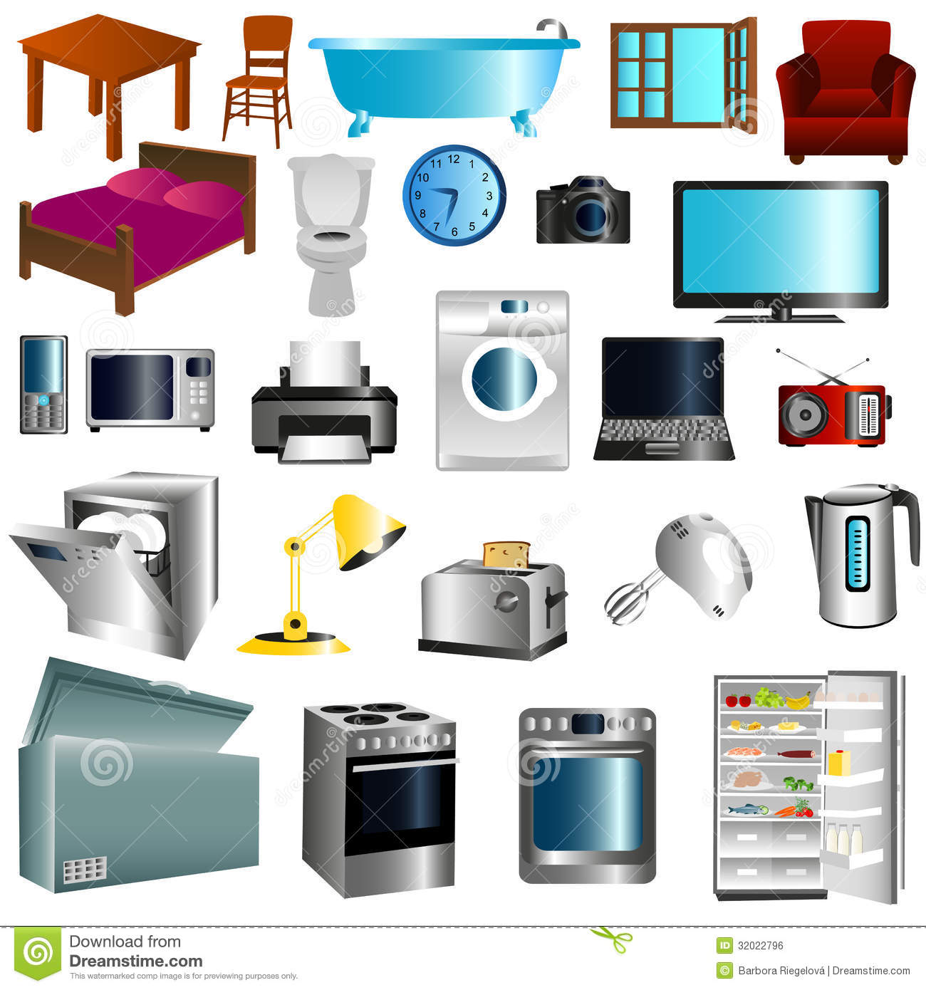 furniture appliances illustration white background 32022796