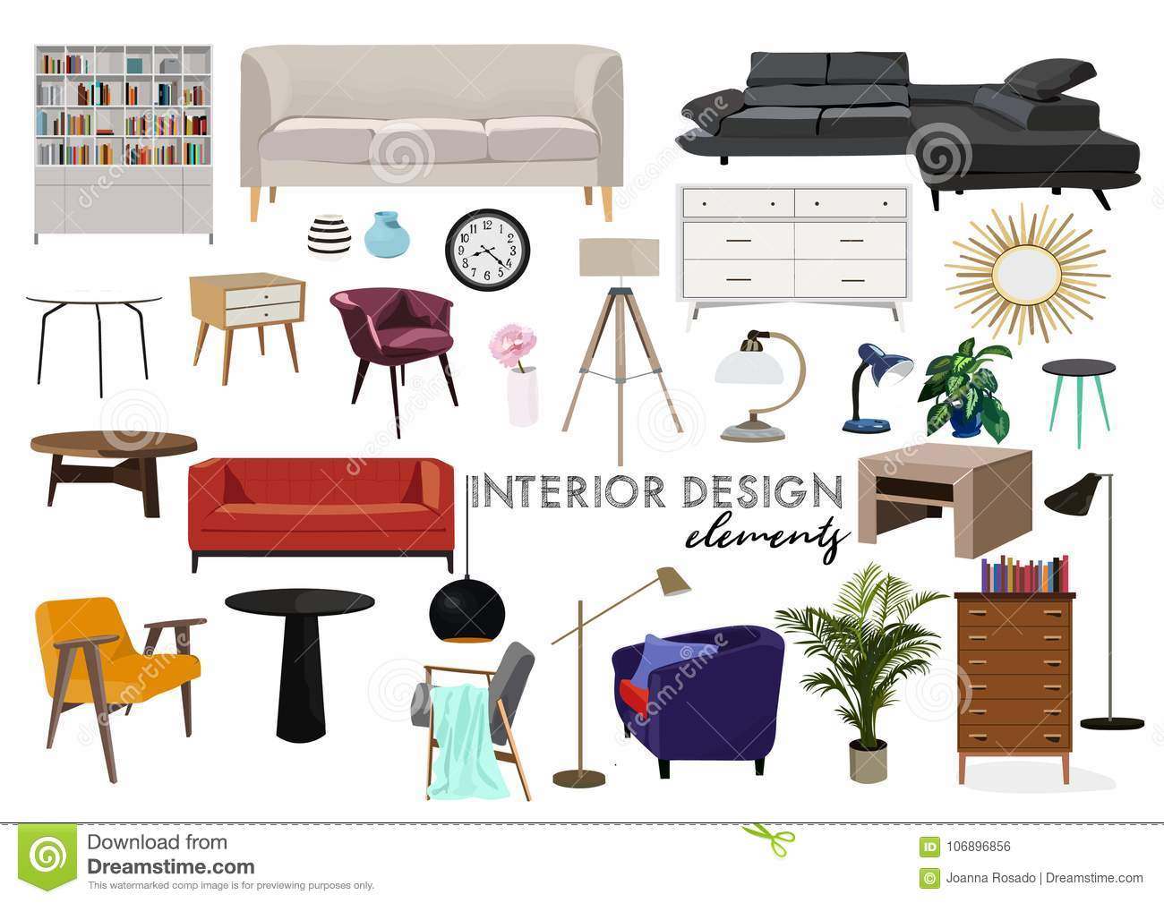 Furniture Art Drawing. Trendy Modern Contemporary Style. Hand Drawn. Sketch.  Ultra Violet Yellow Armchair Sofa. Living Room. Mood Board. Collection Of  ...