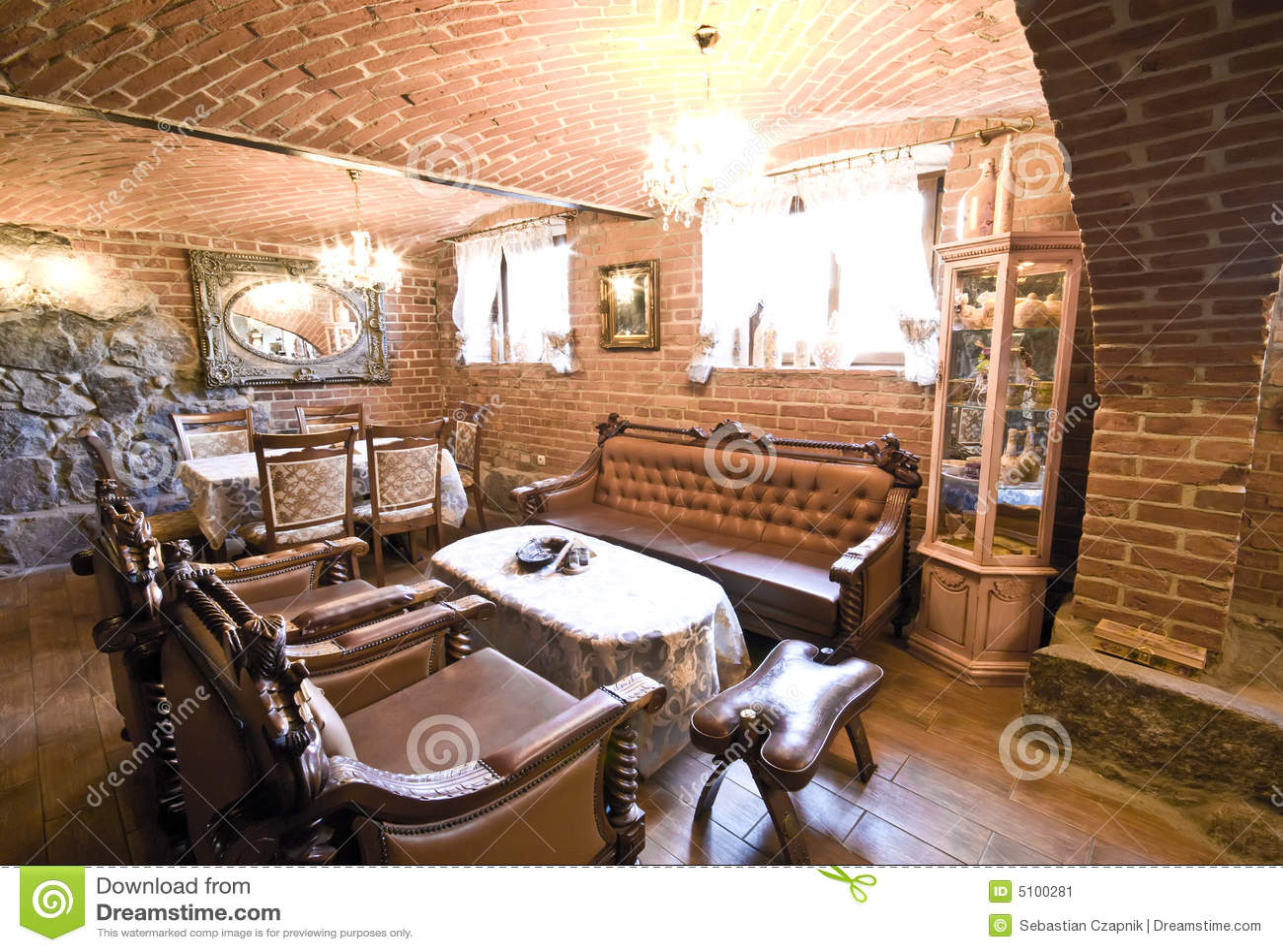 Furniture In Brick Room