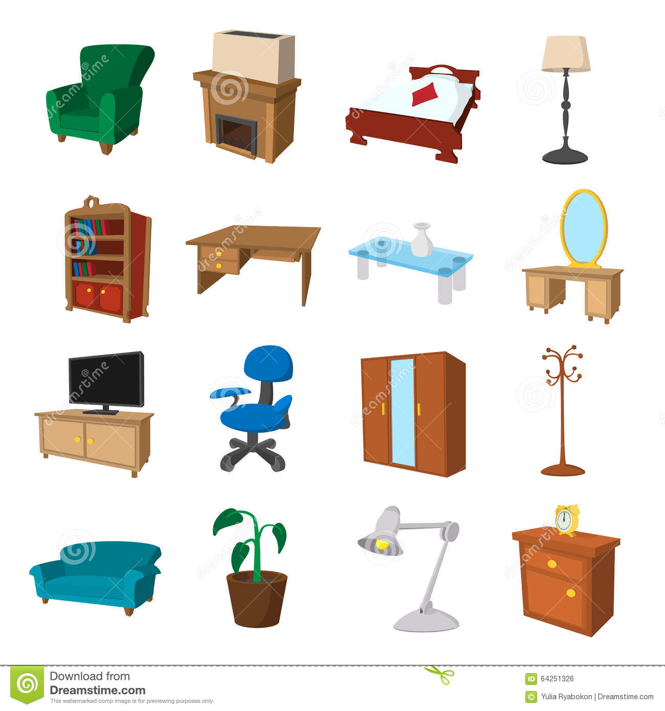 Furniture Cartoon Icons Set Stock Vector - Illustration of living ...