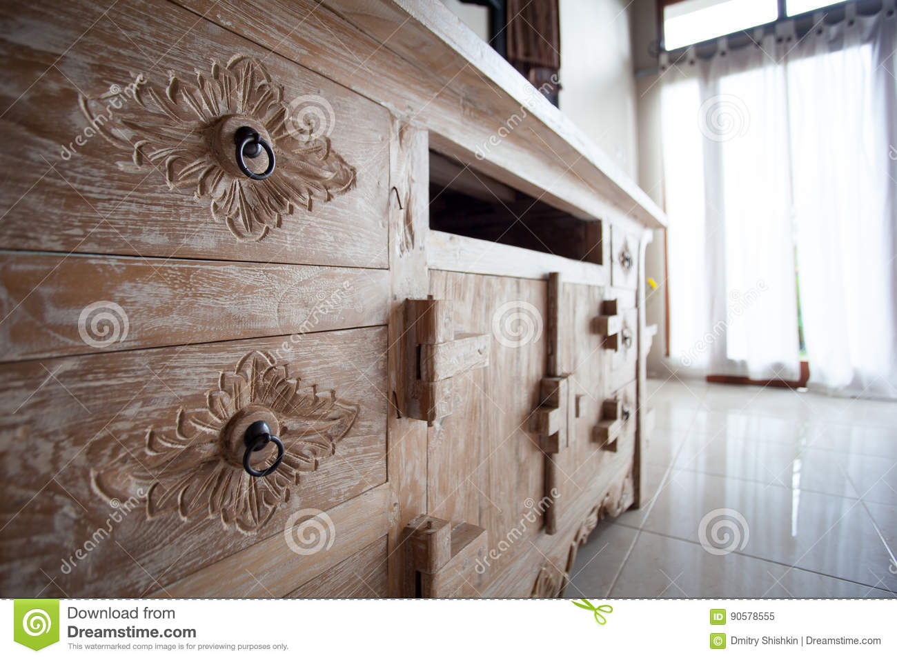 Furniture In Classic Balinese Style Details Light Wood Stock Image  # Muebles Saint Michel