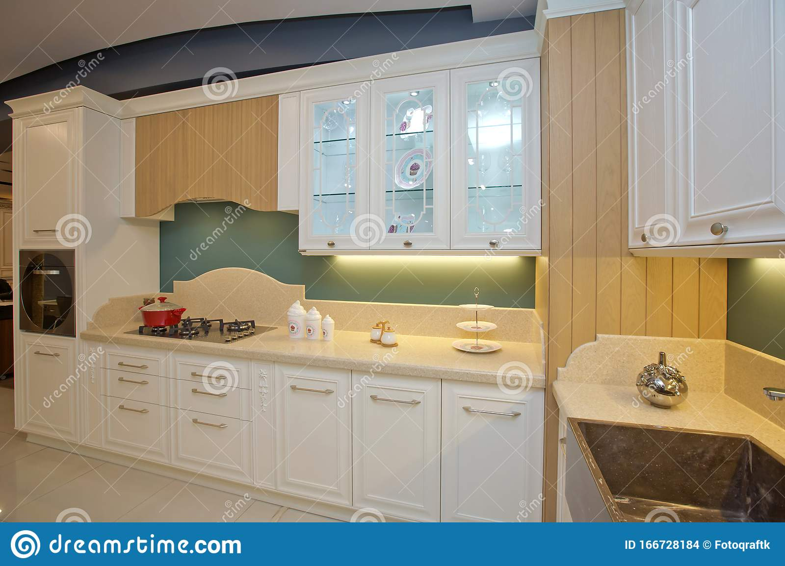 Furniture Of The Classic Italian Kitchen Modern Style Design Background Home Decoration Modern Home Interior Modern Kitchen Editorial Stock Image Image Of Design Domestic 166728184