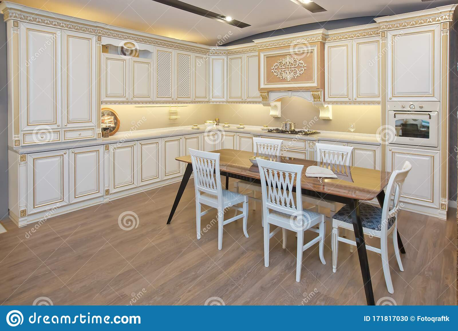 Furniture Of The Classic Italian Kitchen Modern Style Design Background Home Decoration Modern Home Interior Modern Kitchen Stock Photo Image Of Design Domestic 171817030