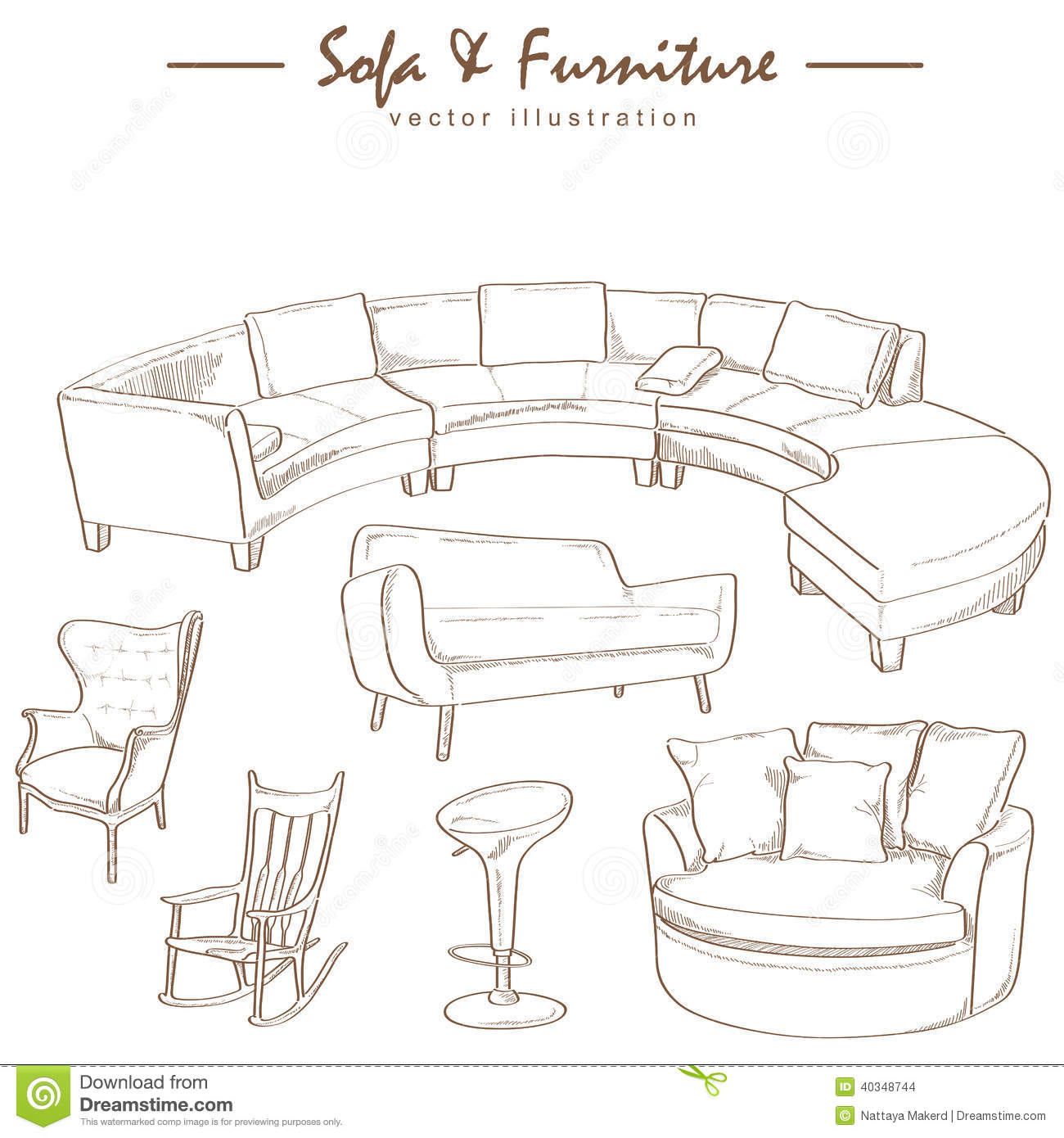 Royalty Free Stock Photo. Download Furniture Collection Sketch ...