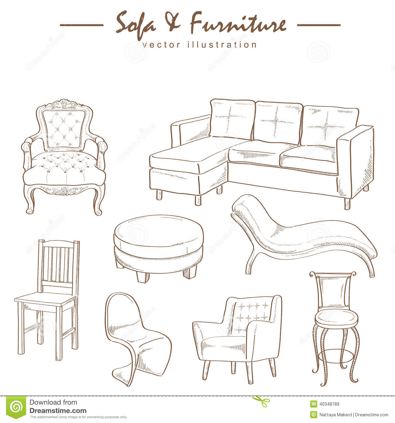 Royalty Bedroom Furniture Furniture Collection Sketch Drawing Vector Stock Vector