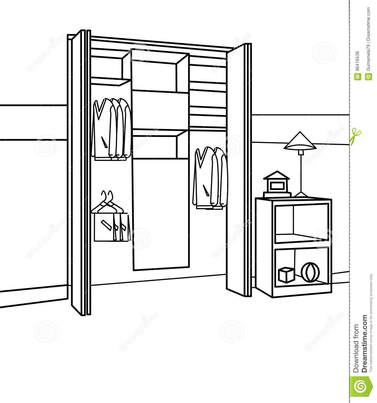 Coloring pages furniture - Royalty Free Illustration Download Furniture Coloring Page