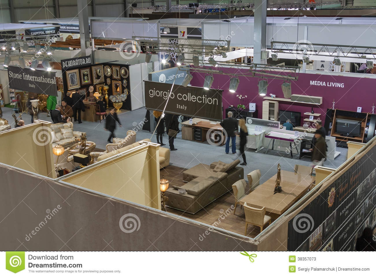 Furniture Companies Boothes At Exhibition Editorial Stock