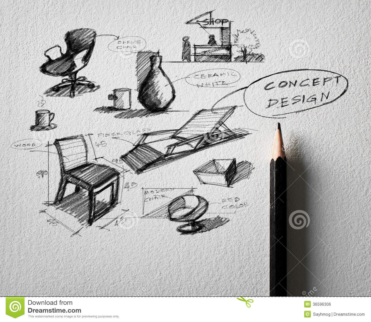 Furniture concept design sketching on white paper
