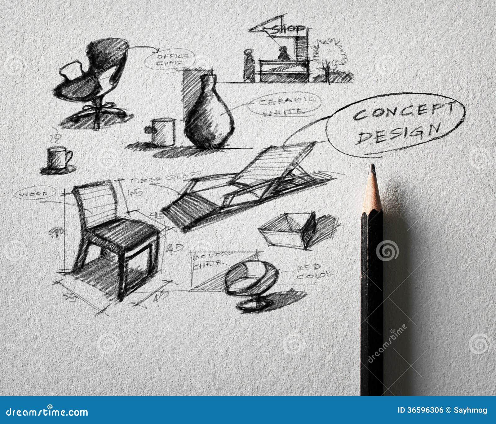 Concept Design Furniture. Furniture Concept Design Sketching On White Paper  Royalty Free