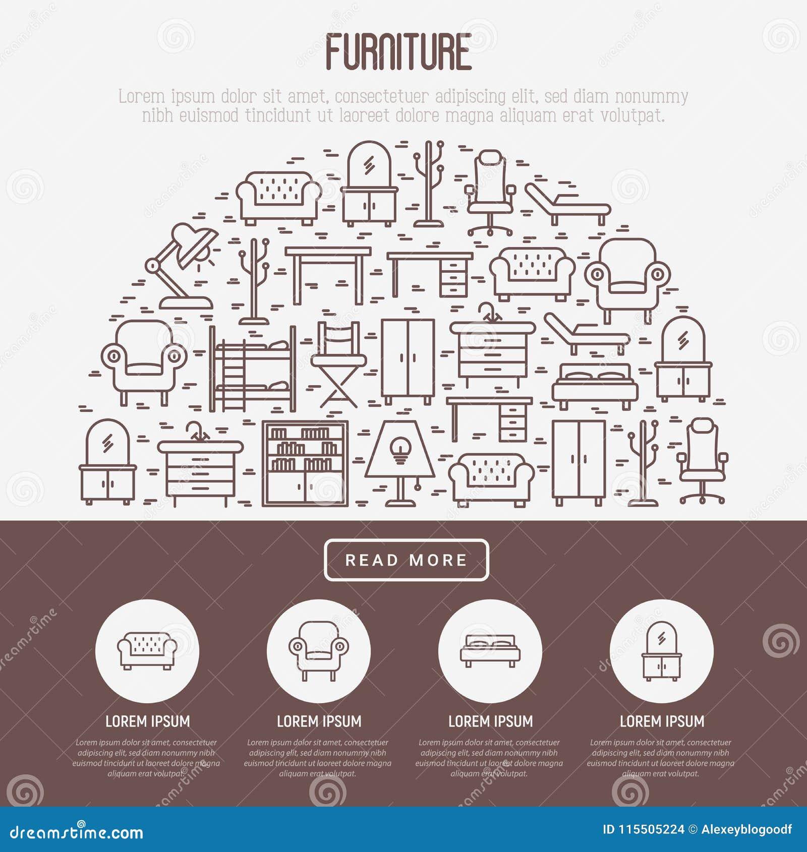Furniture Concept In Half Circle Stock Vector Illustration