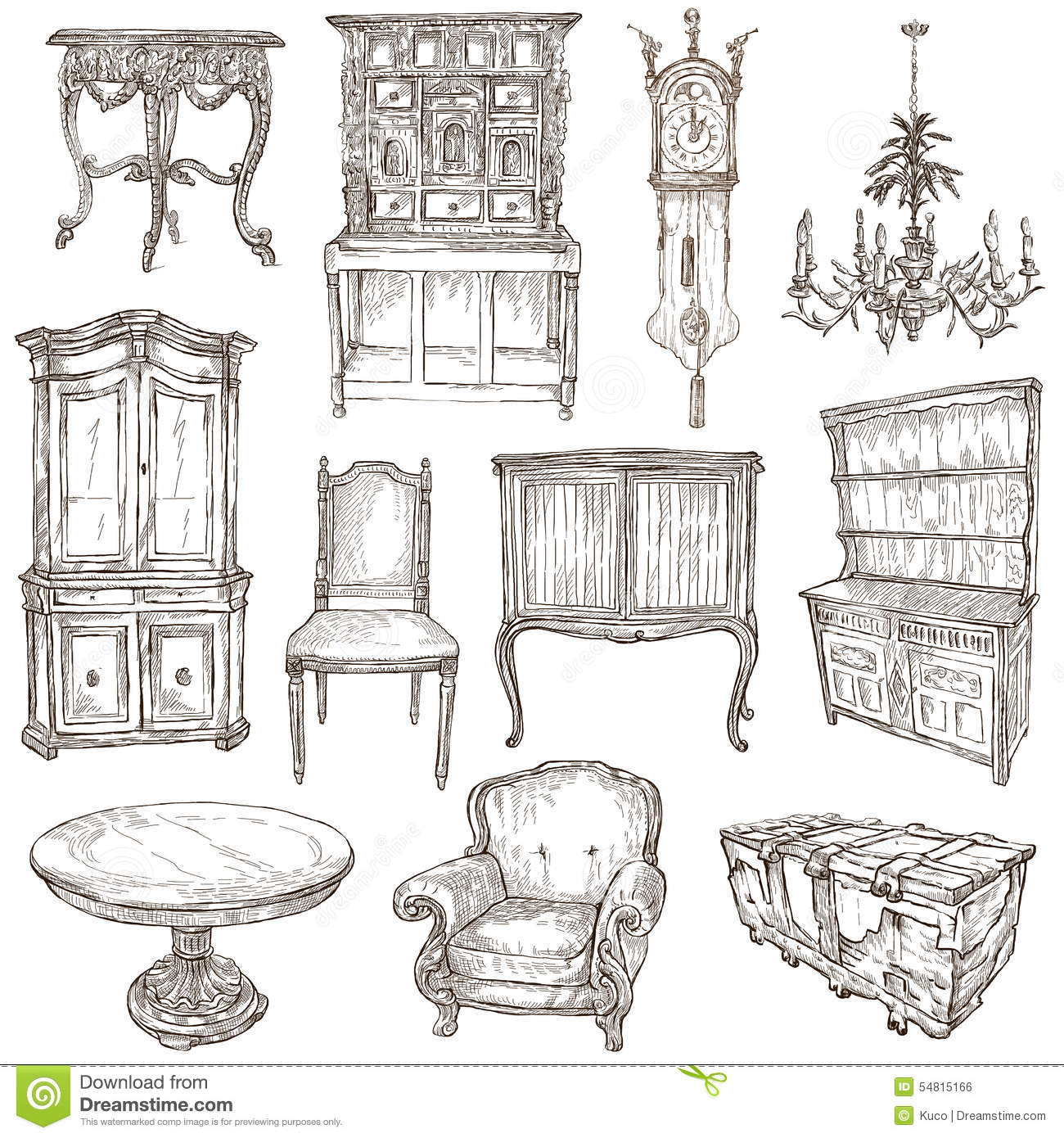 Furniture Sketches Furniture Freehand Sketches On White Stock Illustration Image