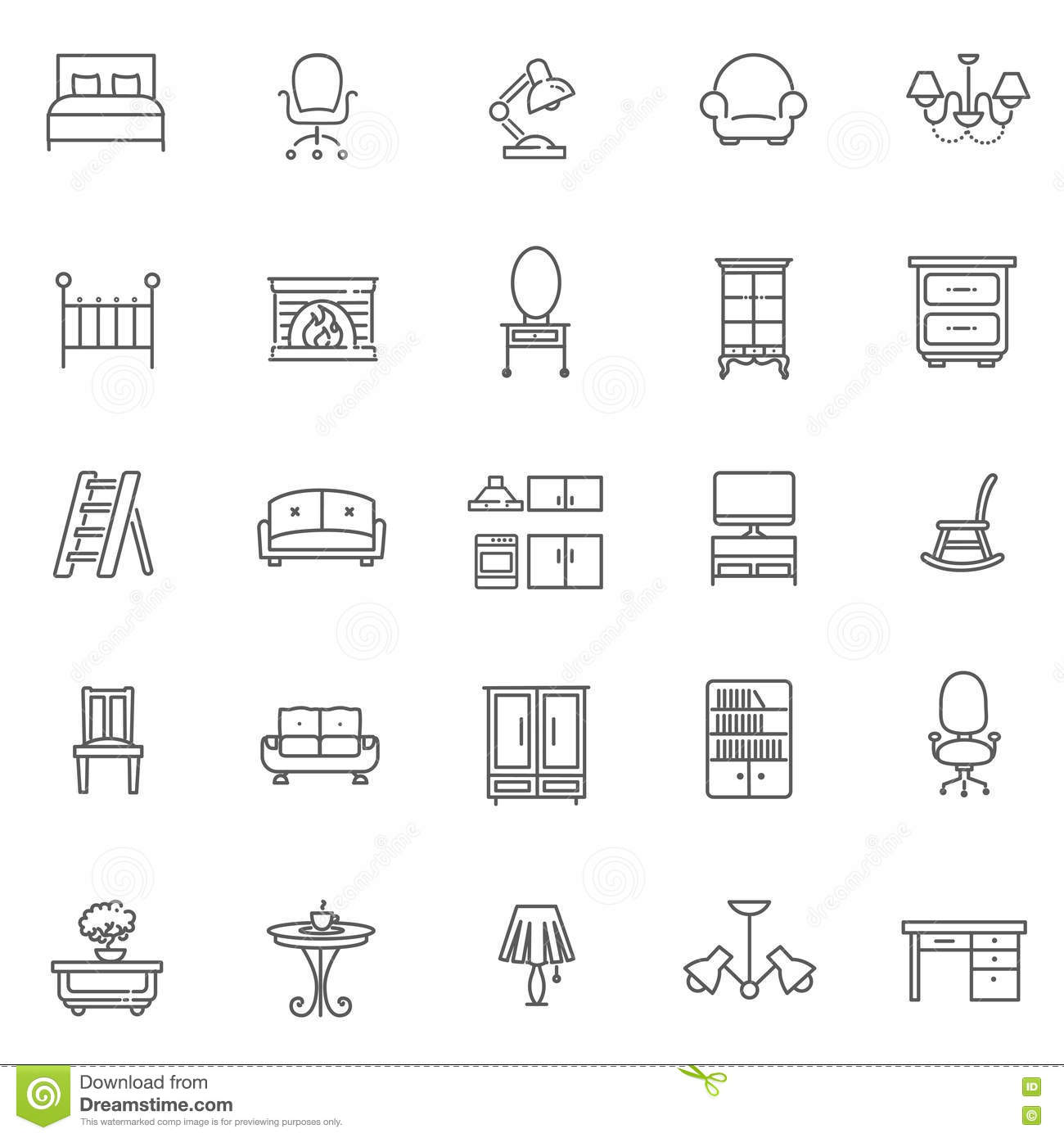 Superieur Furniture And Home Decor Icon Set