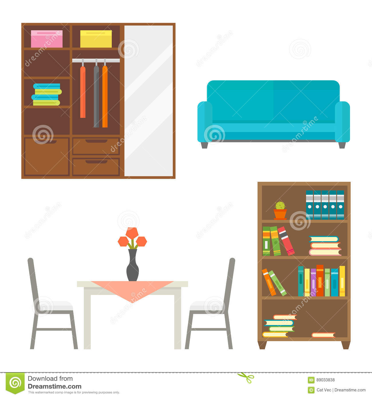 furniture home decor icon set indoor cabinet interior room library furniture home decor icon set indoor cabinet interior room library office bookshelf modern stock vector