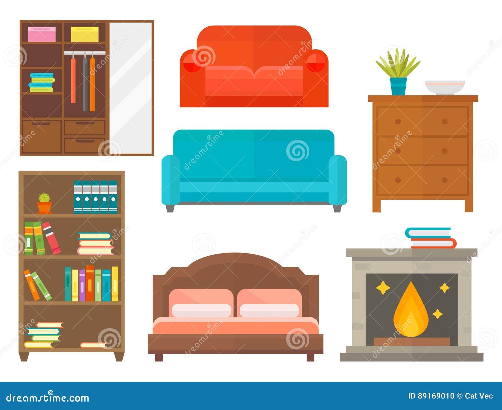 Furniture Home Decor Icon Set Indoor Cabinet Interior Room Library