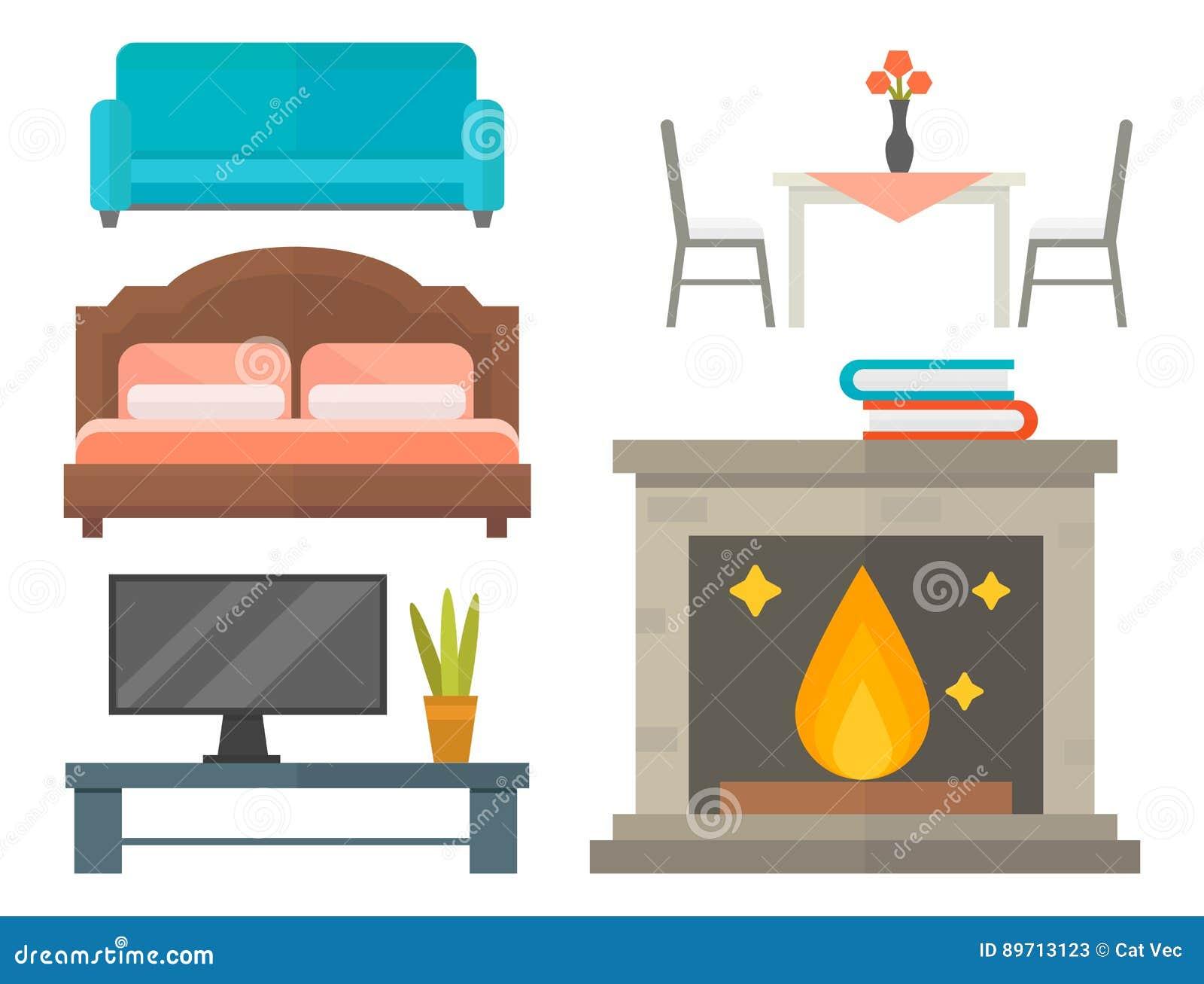 Furniture Home Decor Icon Set Indoor Cabinet Interior Room