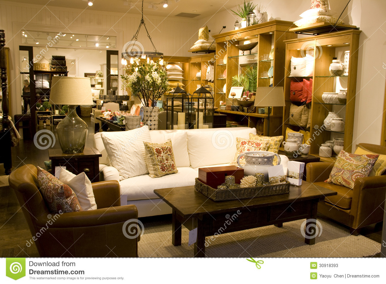 Furniture and home decor store stock image image 30918393 for Trendy home furnishings