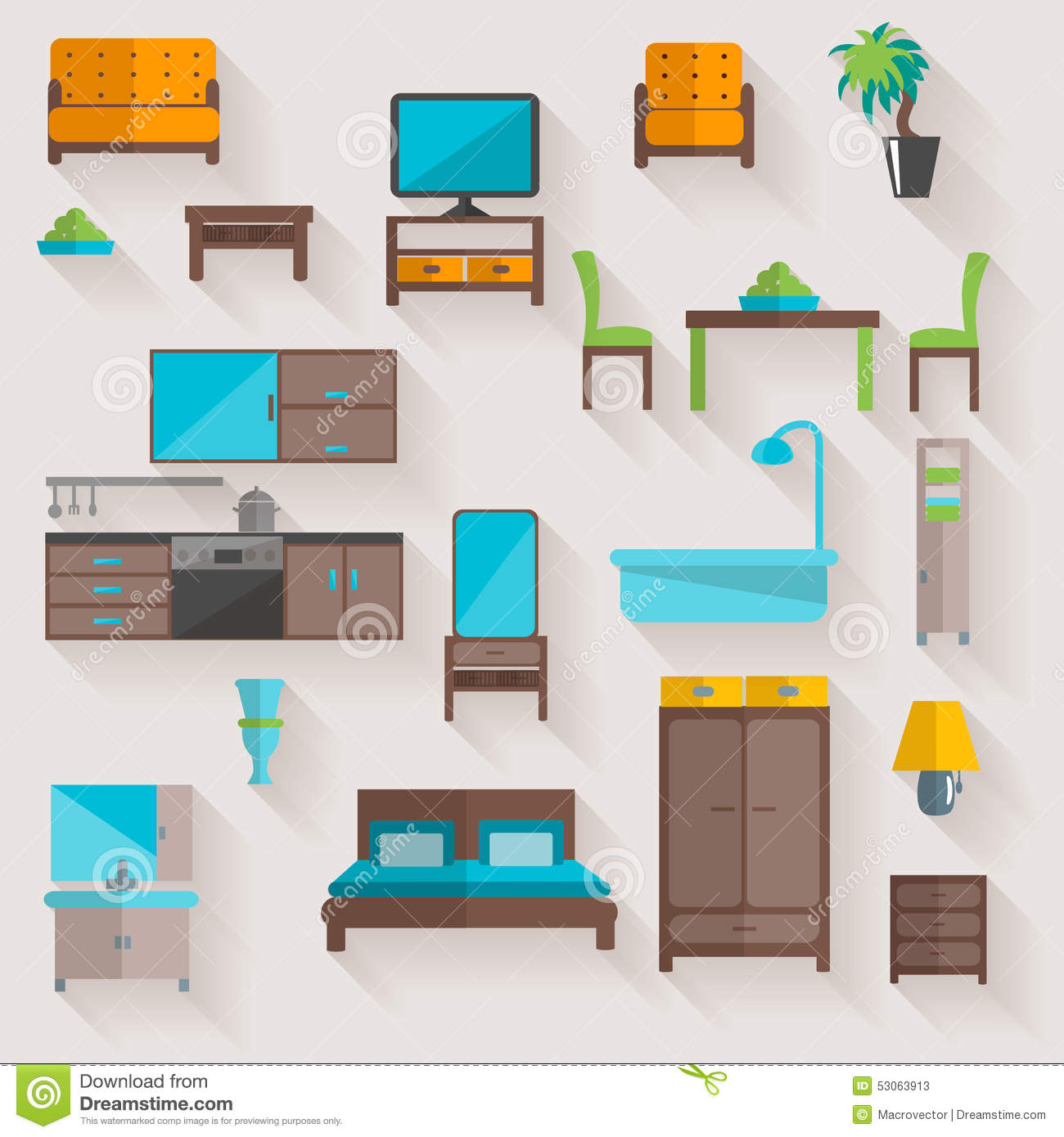 Furniture home flat icons set stock vector image 53063913