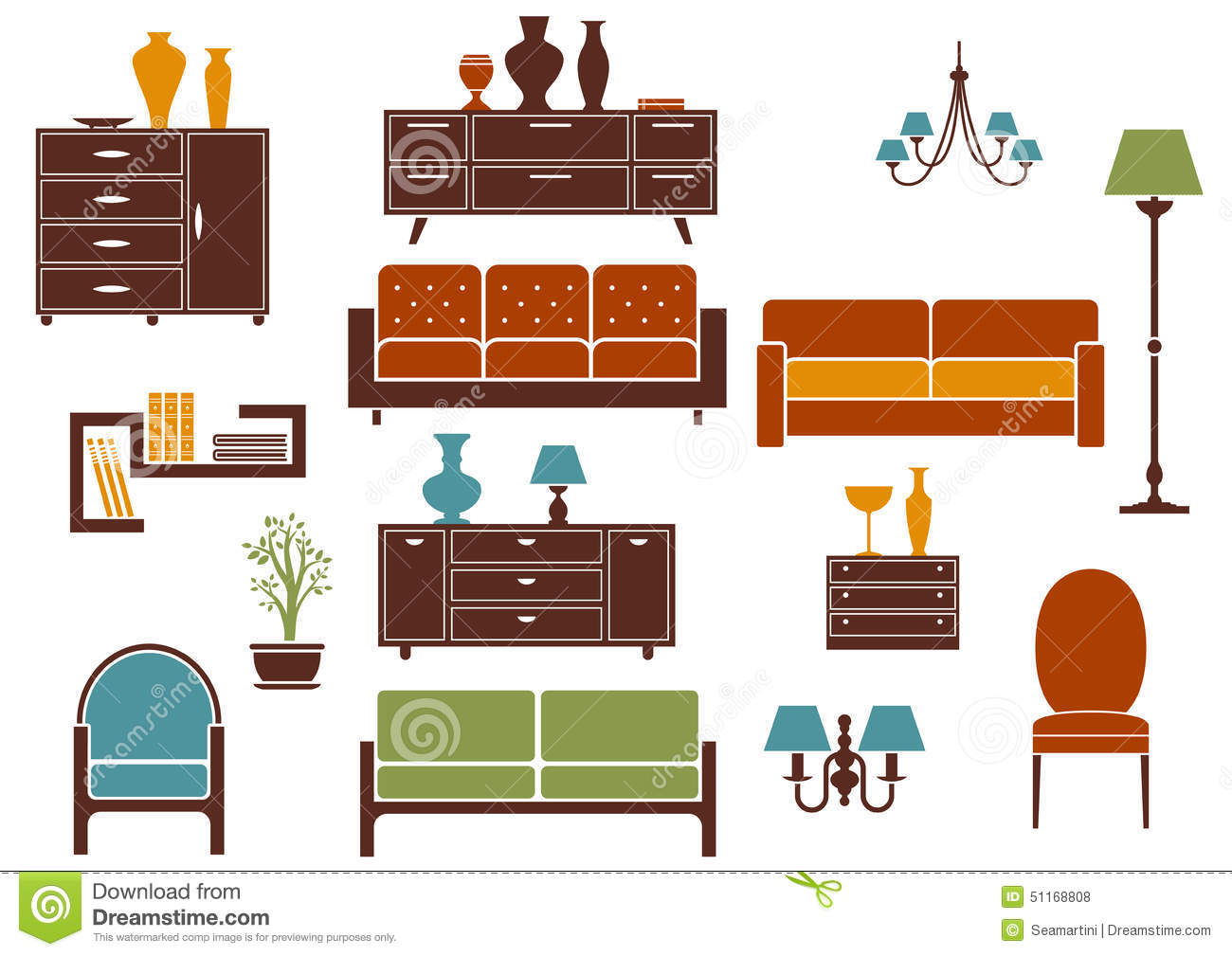 Furniture And Home Interior Flat Design Elements Stock