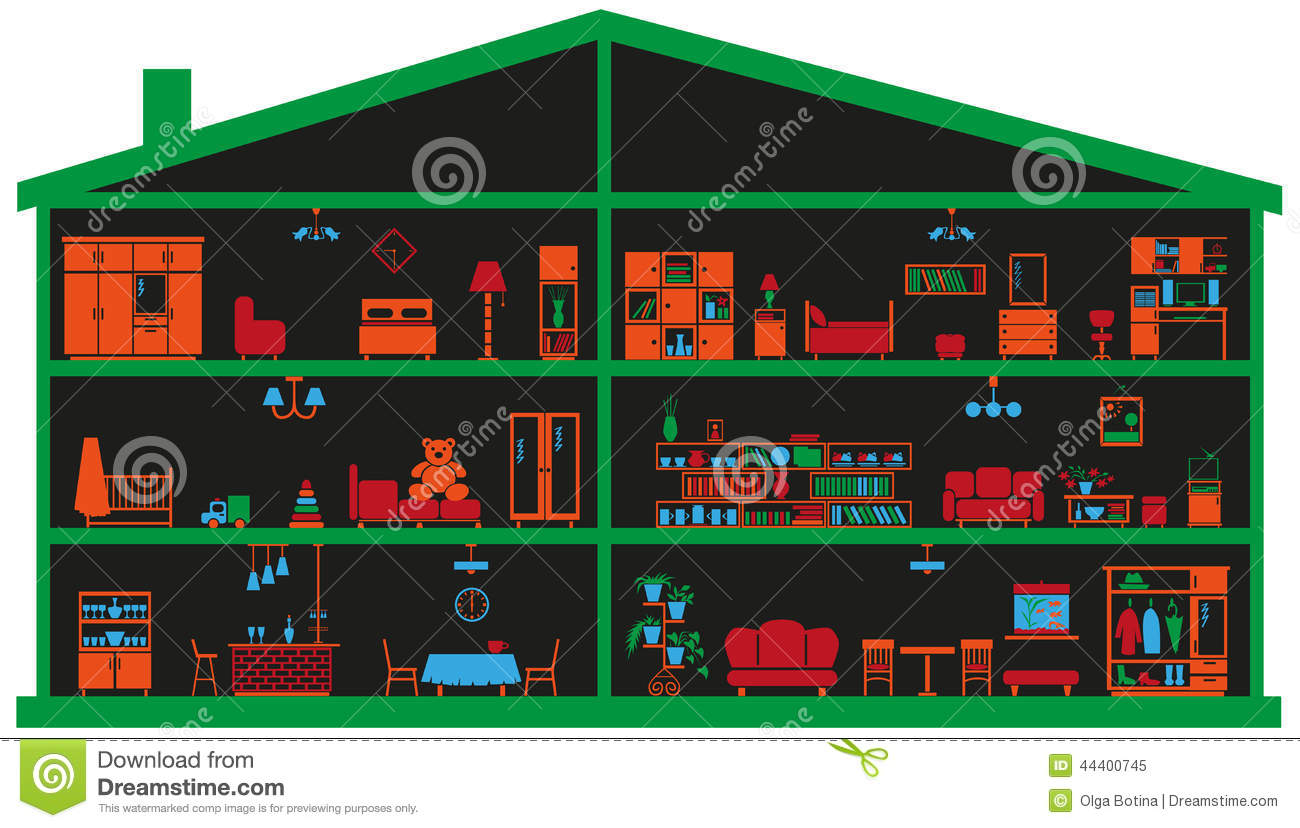 Furniture Placement App Furniture In The House Stock Vector Image 44400745