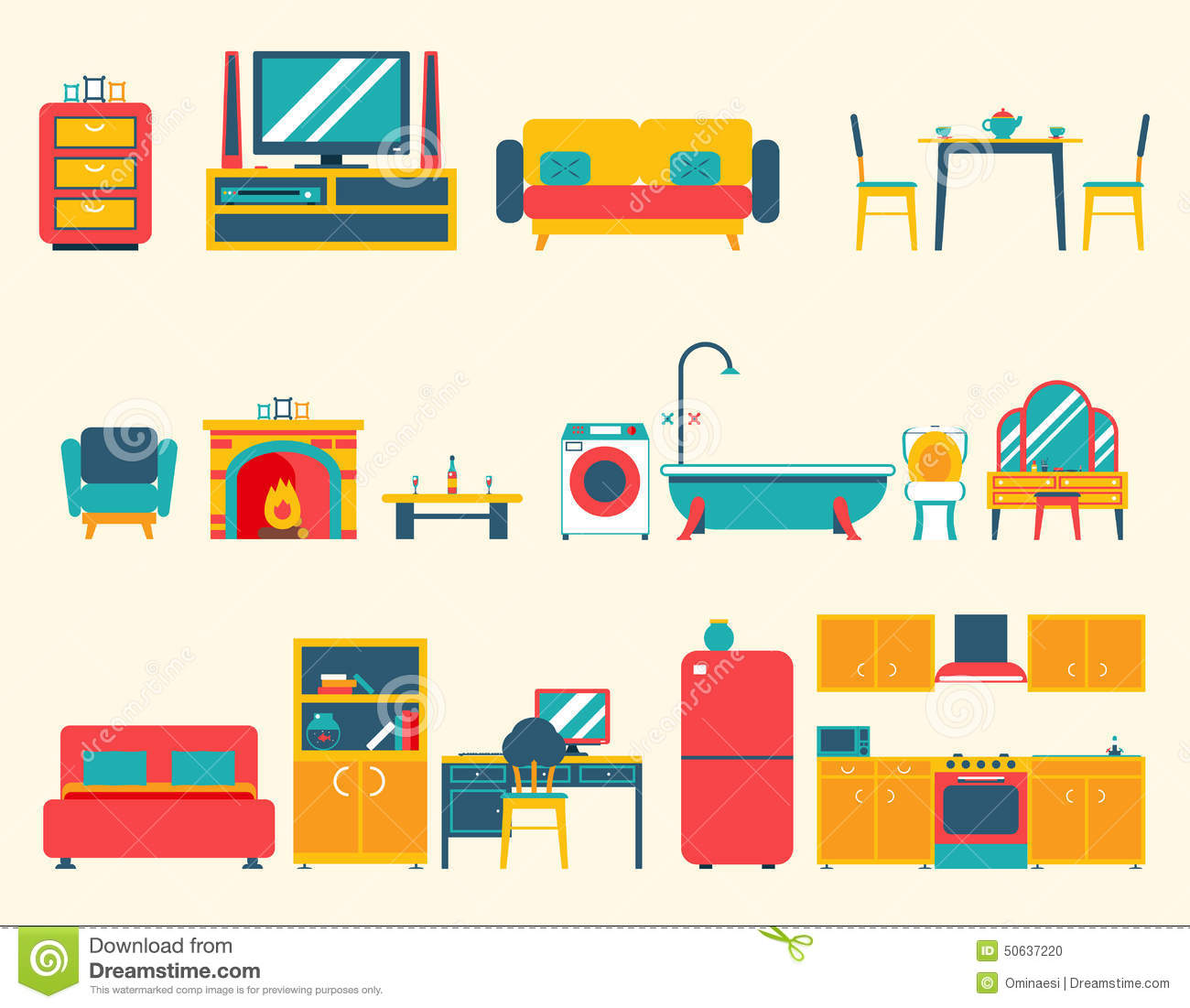 Interior Icons Symbols Set Living Room Kitchen Bedroom Lounge Bathroom