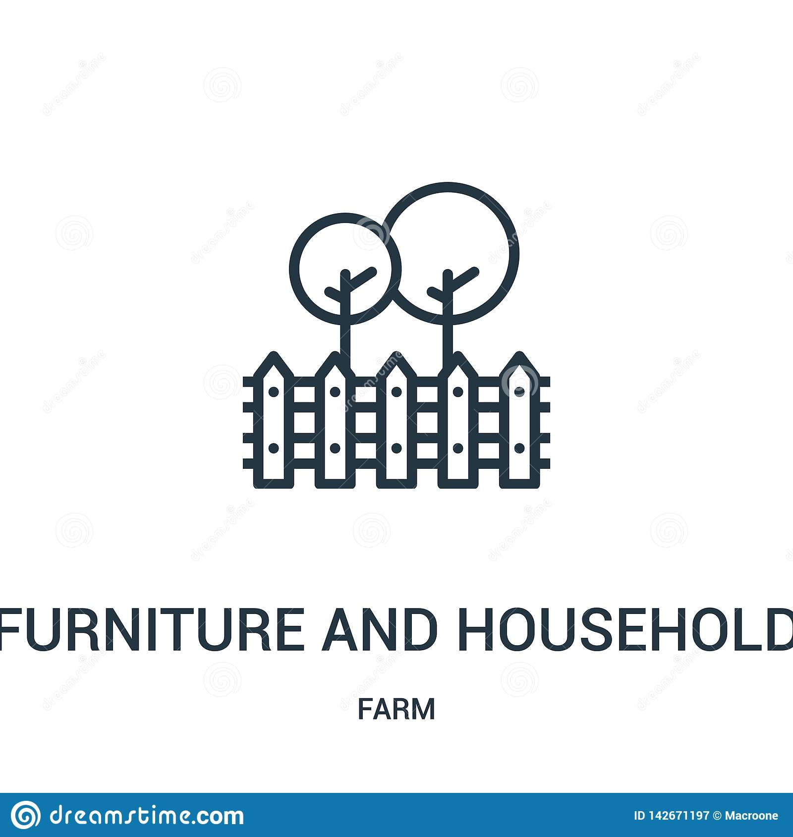 furniture and household icon vector from farm collection. Thin line furniture and household outline icon vector illustration.