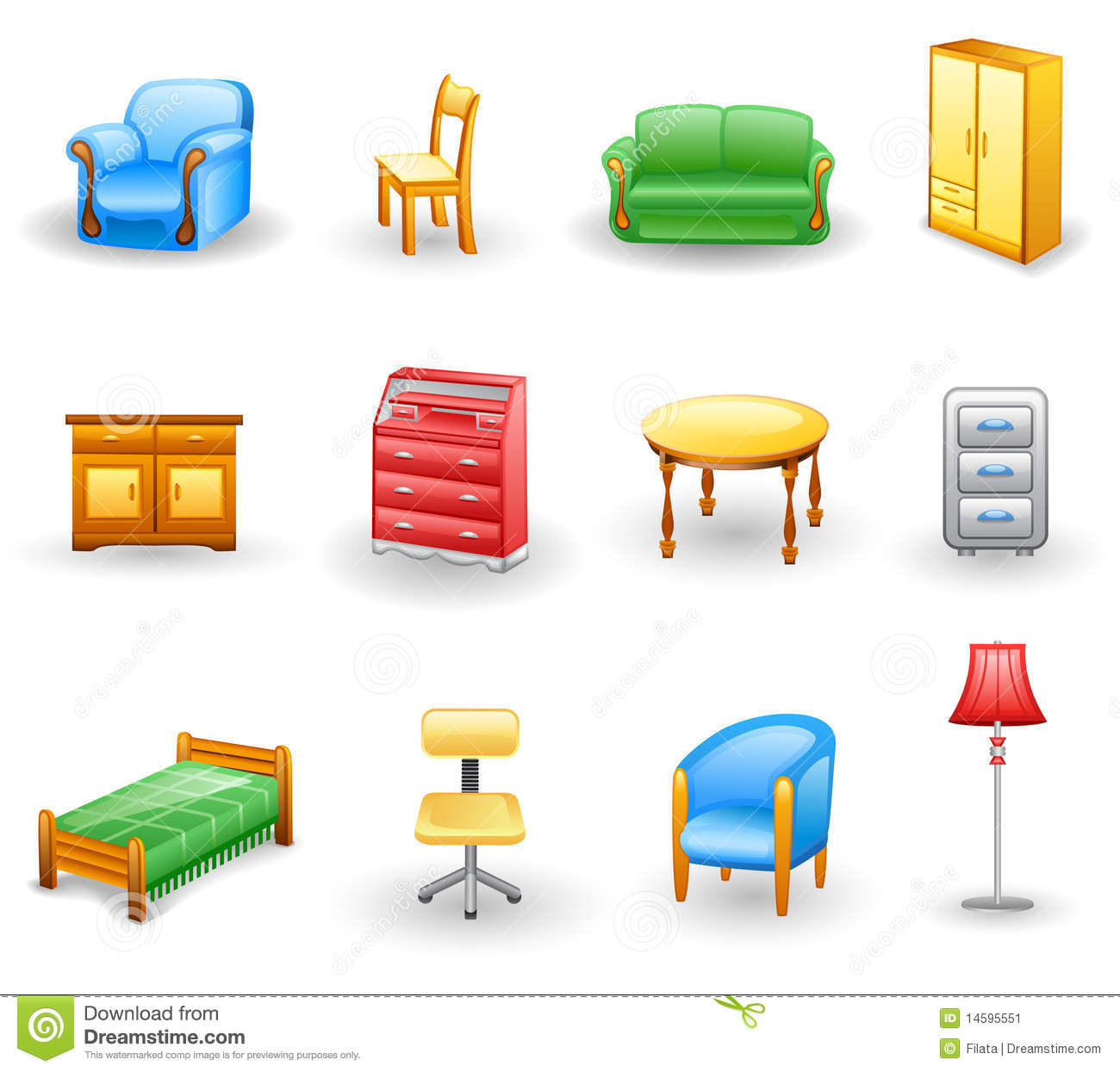 Furniture icon set. Isolated on a white background