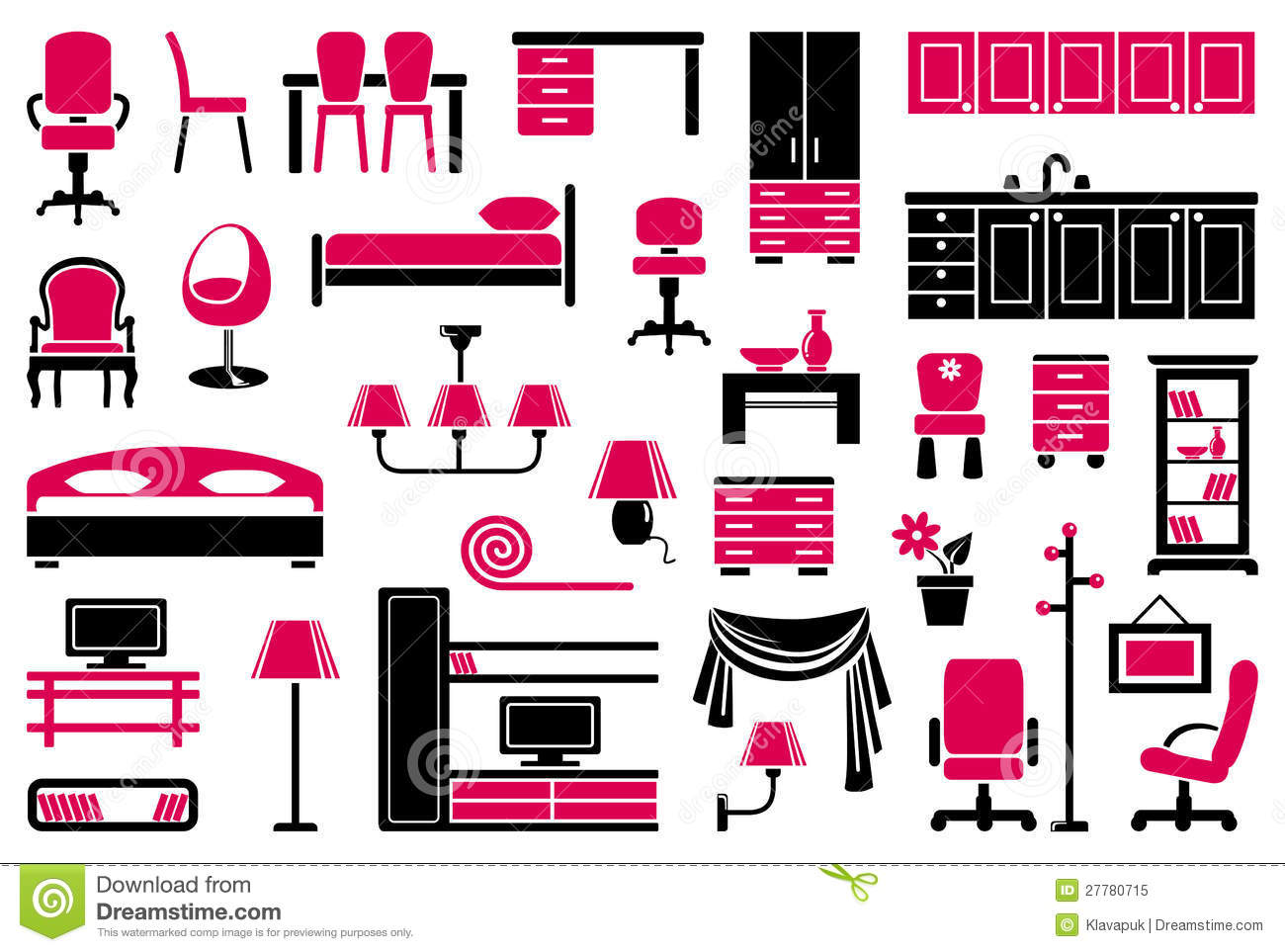 creative furniture icons set flat design. Creative Furniture Icons Set Flat Design.  Design Children Room Interior