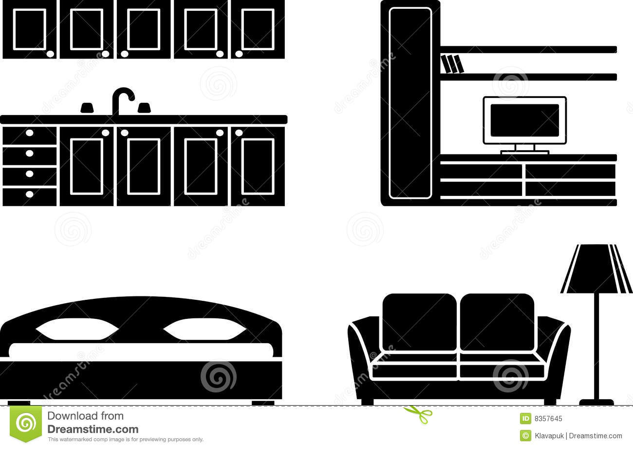 Bedroom Interior Design Set Furniture Vector ~ Furniture icon set stock vector illustration of