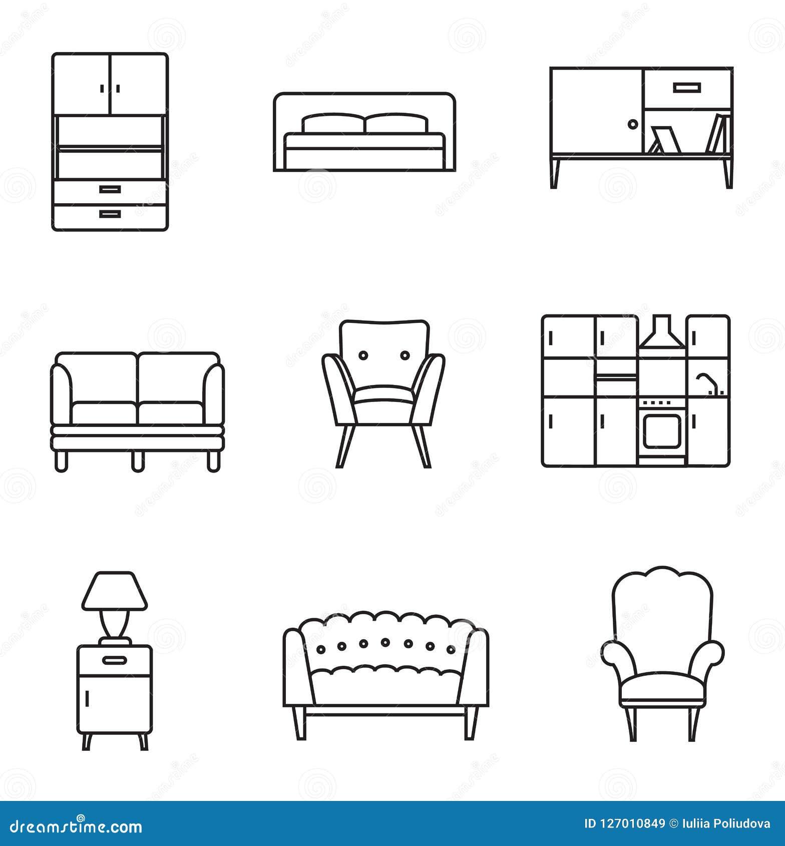 Furniture Icon Set Stock Illustration Illustration Of Couch