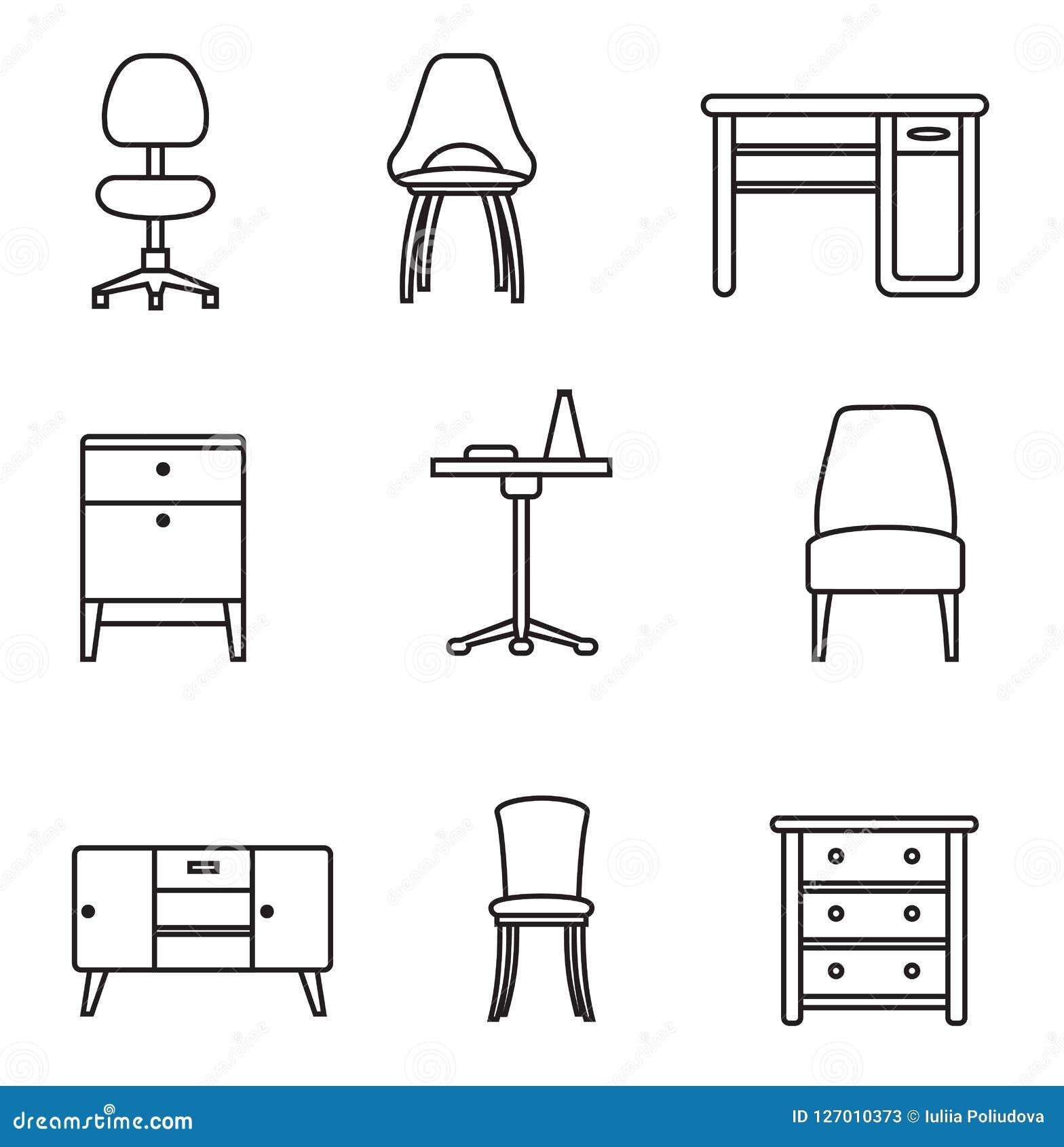 Furniture Icon Set Stock Illustration Illustration Of