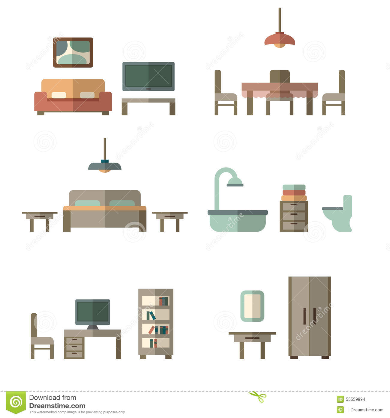 Wonderful Furniture Icon Set For Rooms Of House. Bedroom, Desk.
