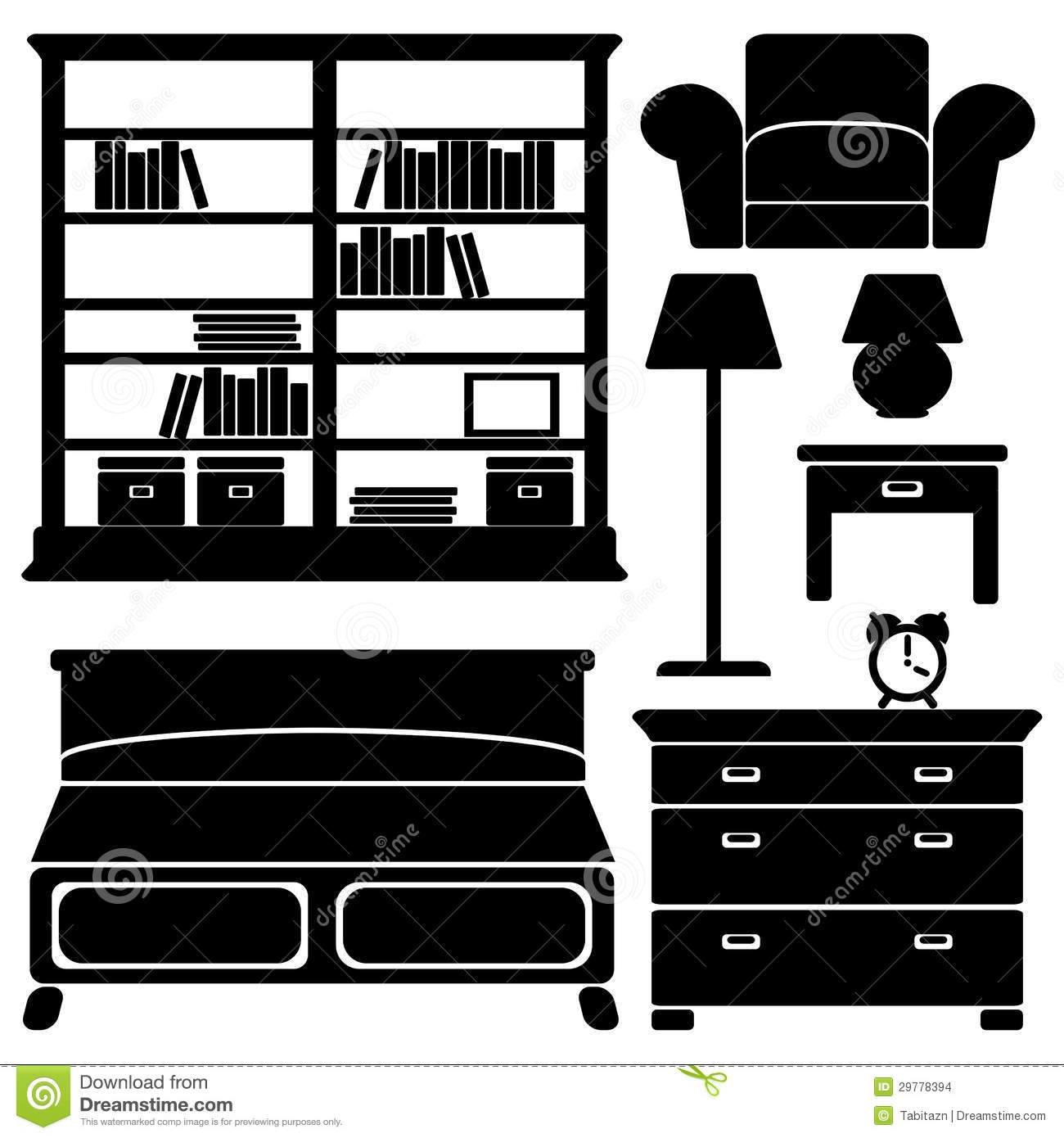 Bedroom Interior Design Set Furniture Vector ~ Furniture icons bedroom set stock vector illustration