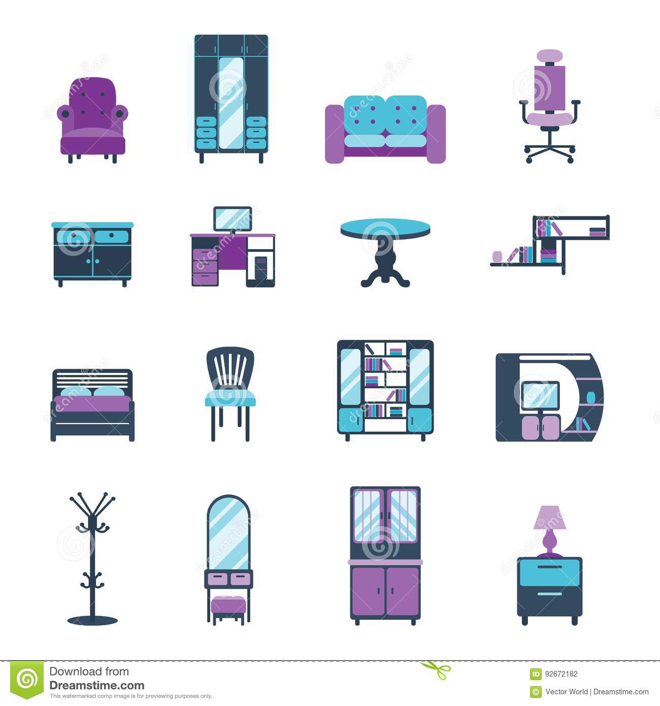 Vector Of Living Room Stock Vector Image Of Sofa: Furniture Icons Home Design Modern Living Room Furnished