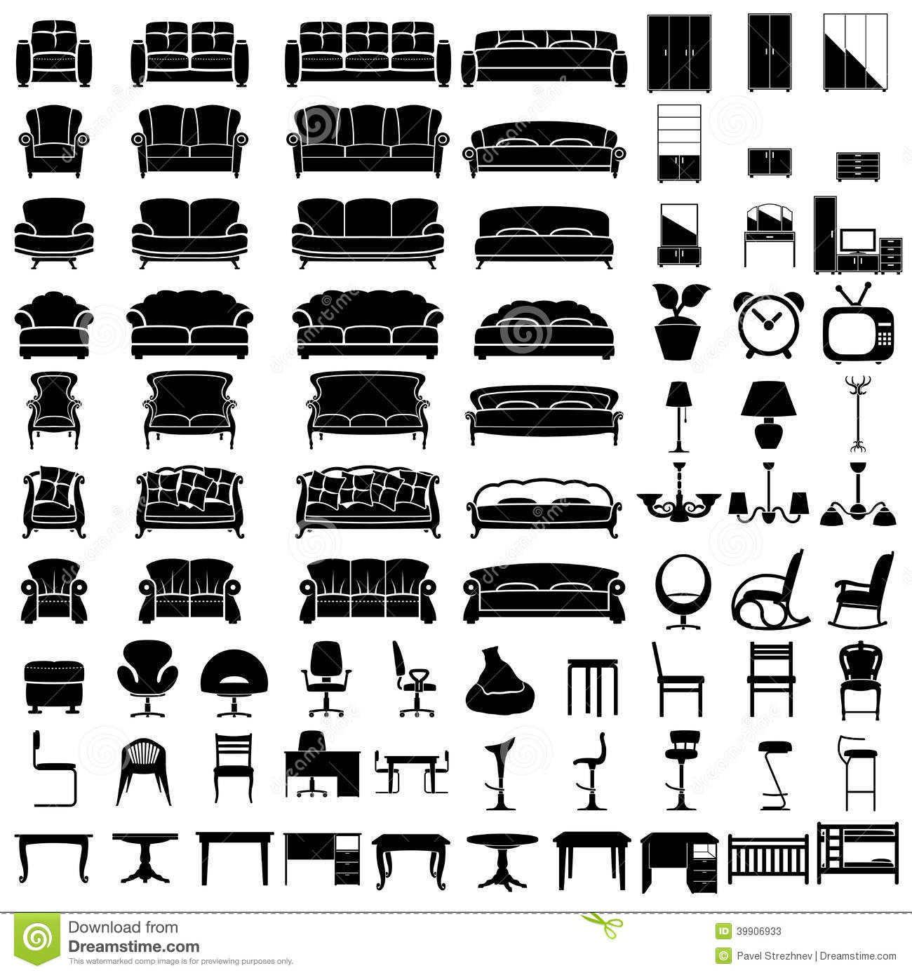 Furniture Icons Stock Vector Image 39906933