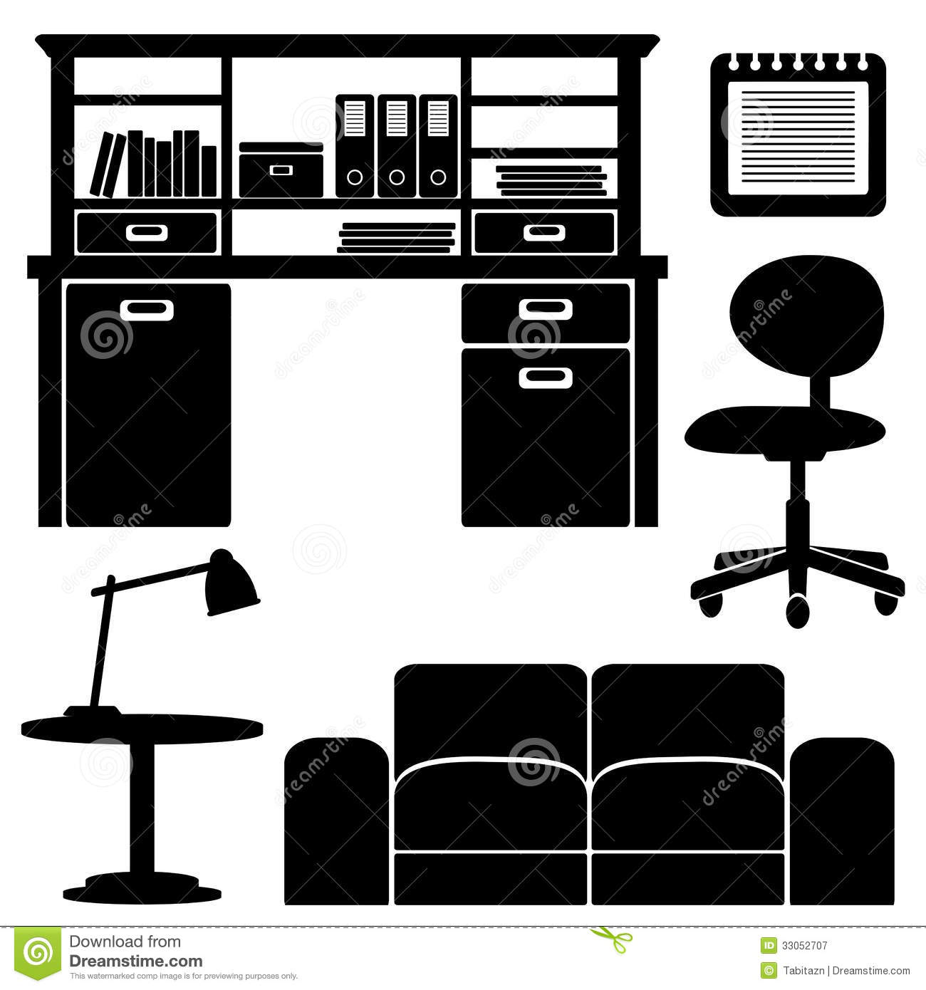 Furniture Icons Living Room Office Set Royalty Free