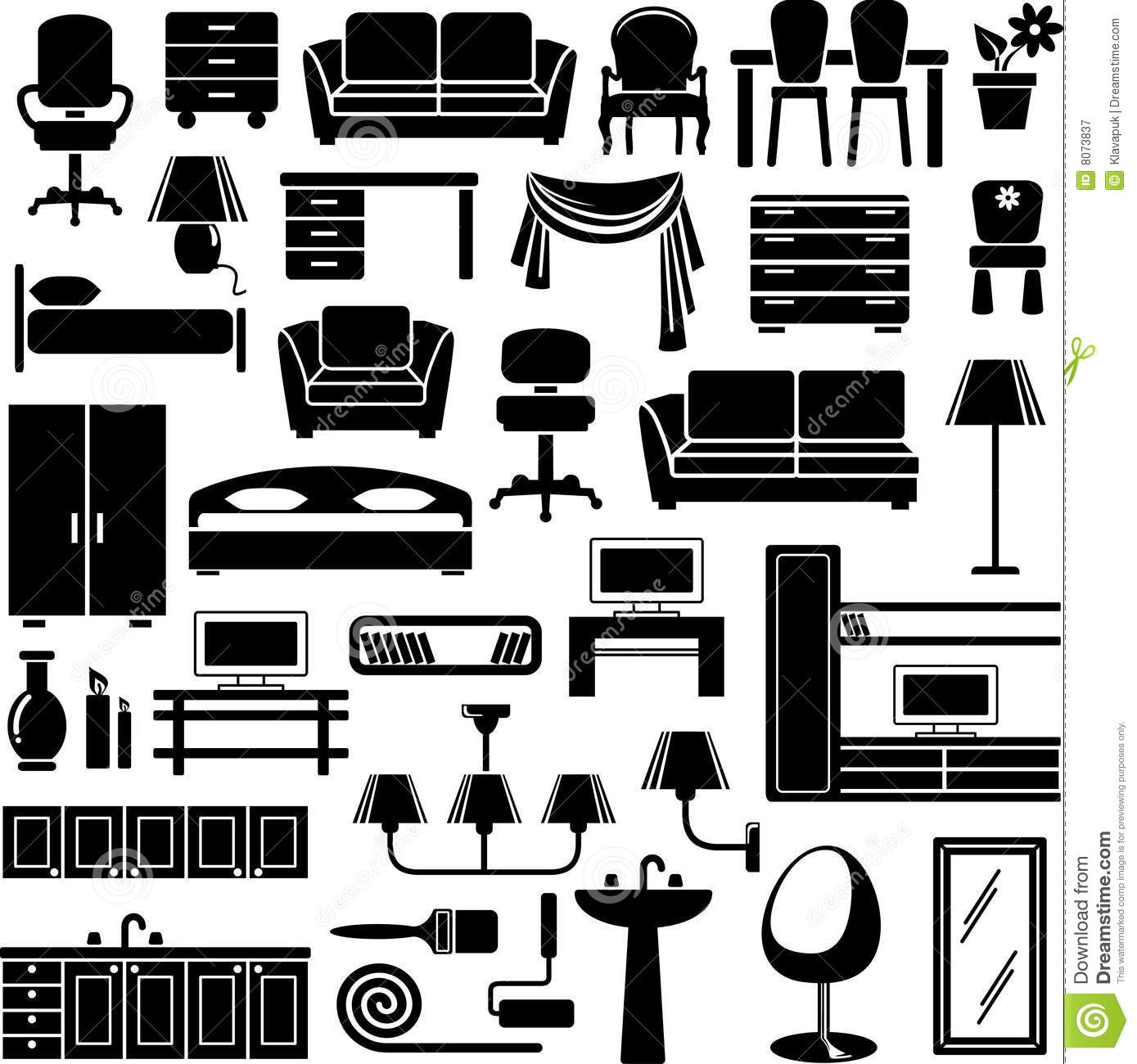 Bedroom Clip Art Black And White Bedroom Ceiling Tv Mount Bedroom Apartment Design Ideas Bedroom Ideas Luxury: Furniture Icons Set Royalty Free Stock Photography